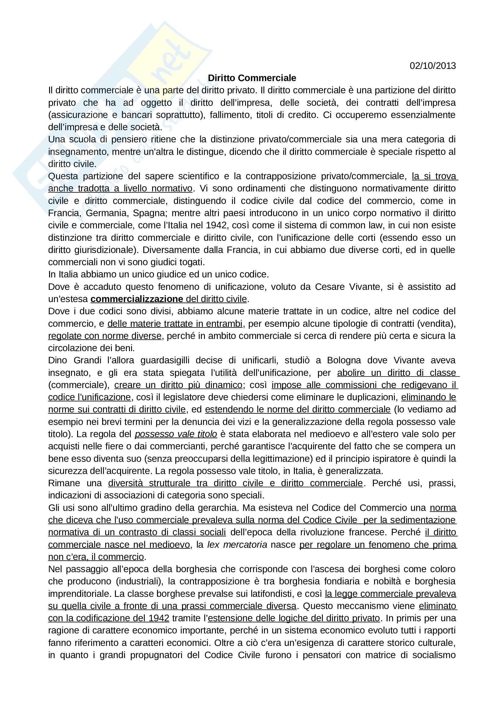 Diritto Commerciale - Appunti lezioni Pag. 1