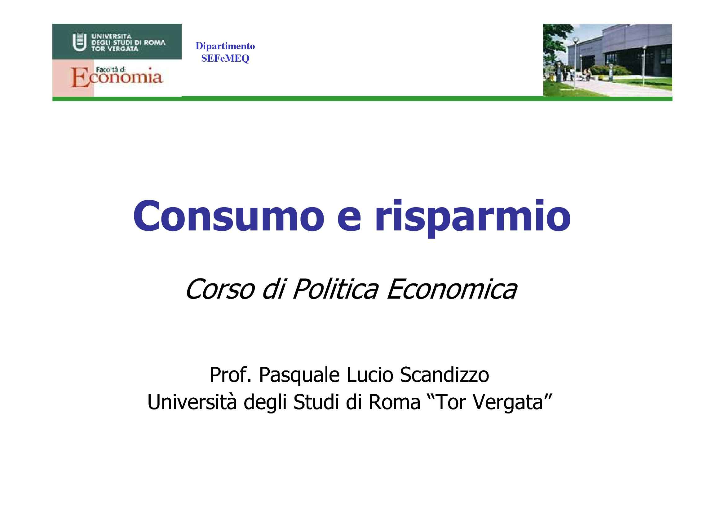 Consumo e risparmio