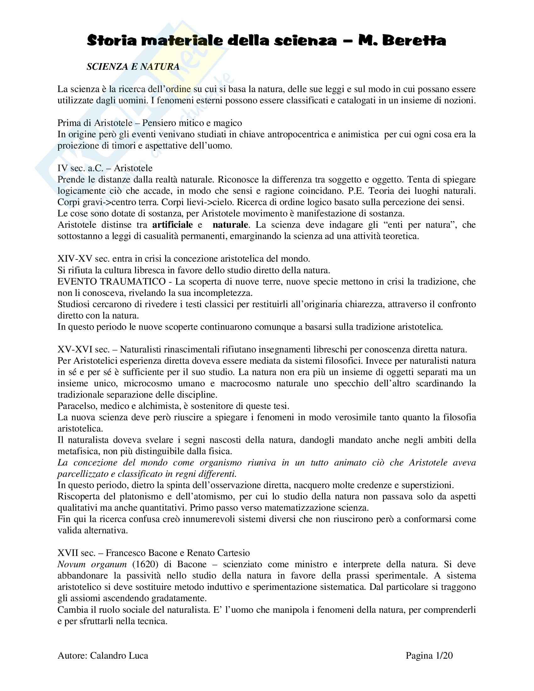 Storia materiale della Scienza - Beretta