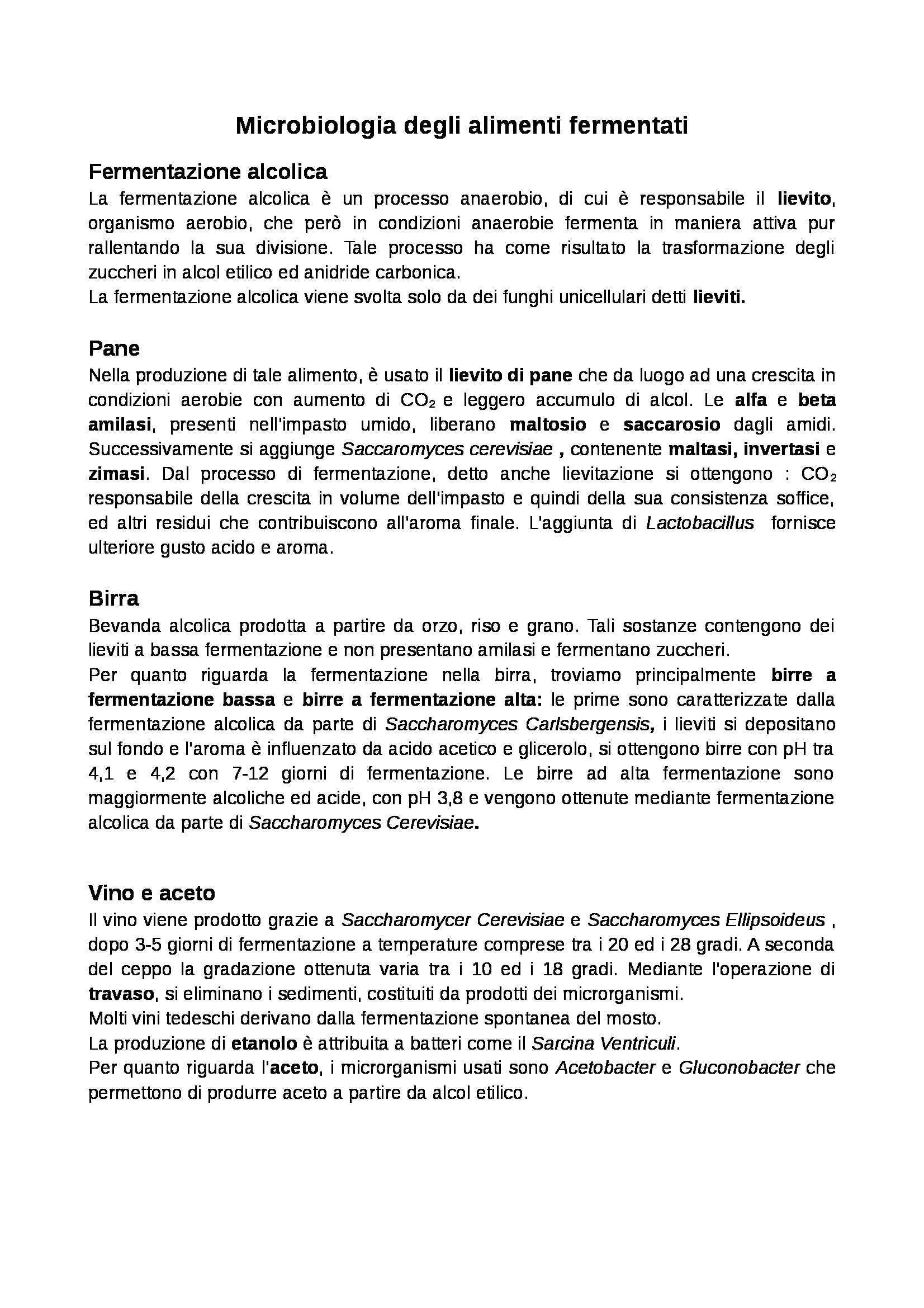 Microbiologia generale - microbiologia degli alimenti fermentati