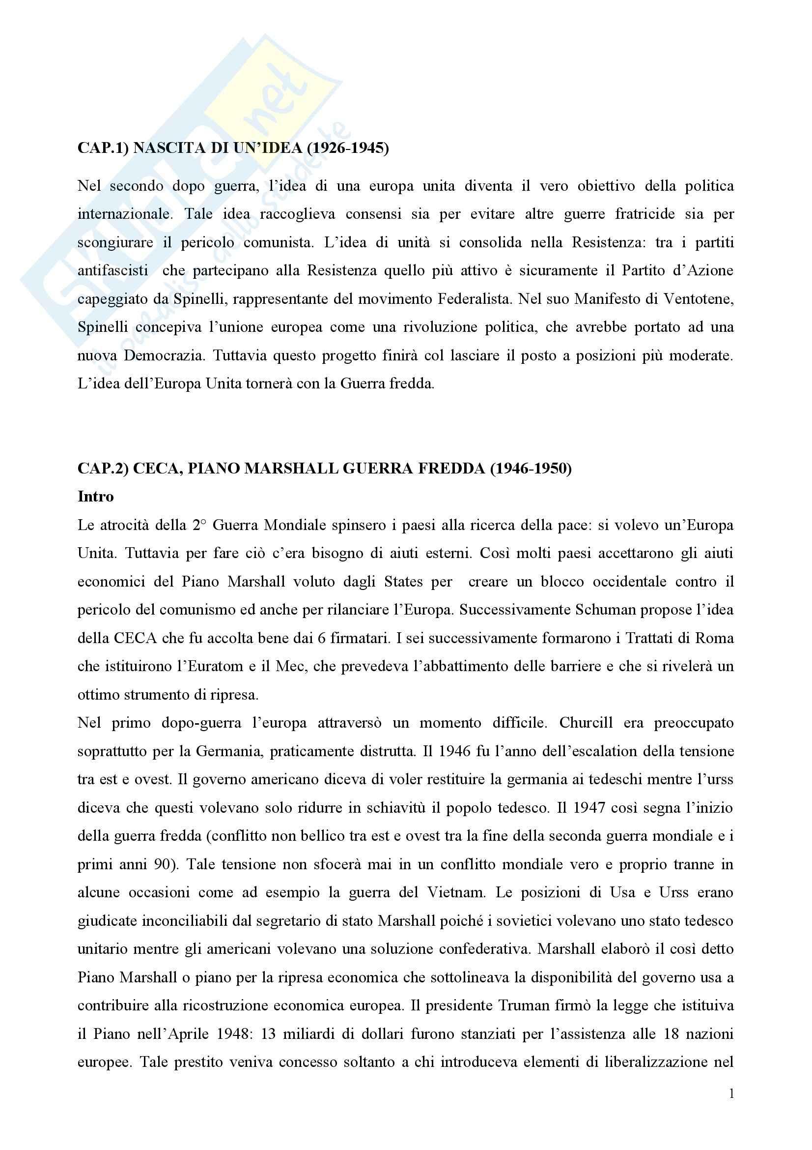 Riassunto esame Storia della Costruzione Europea, prof. Laschi, libro consigliato Storia e Politiche dell'Unione Europea, Mammarella