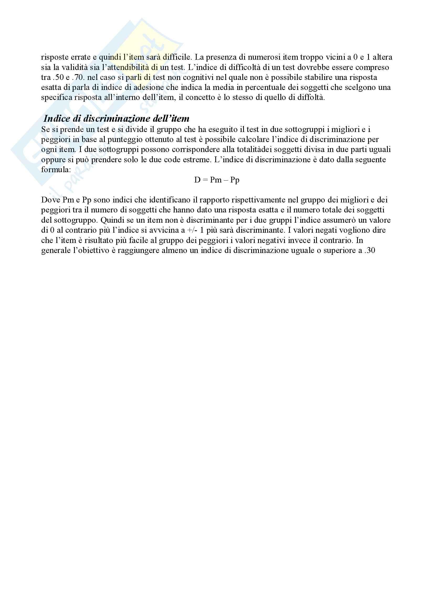 Riassunto esame Teoria e Pratica dei Test, prof. Cuzzocrea, libro consigliato Teoria e Pratica dei Test, Mucciarelli, Chattat, Celani Pag. 11