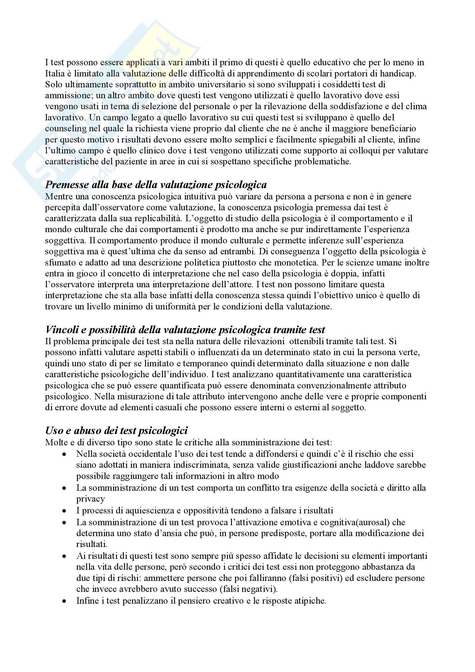 Riassunto esame Teoria e Pratica dei Test, prof. Cuzzocrea, libro consigliato Teoria e Pratica dei Test, Mucciarelli, Chattat, Celani Pag. 2