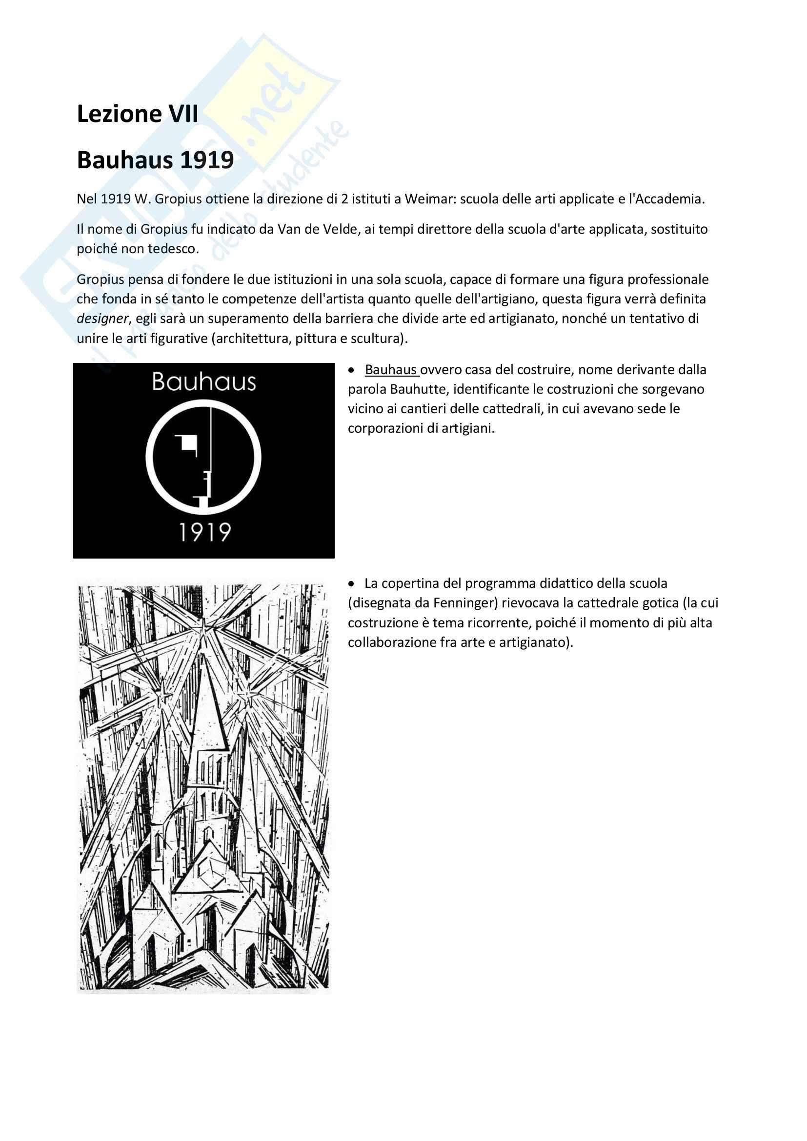 Bauhaus: Appunti di Storia delle arti e del design