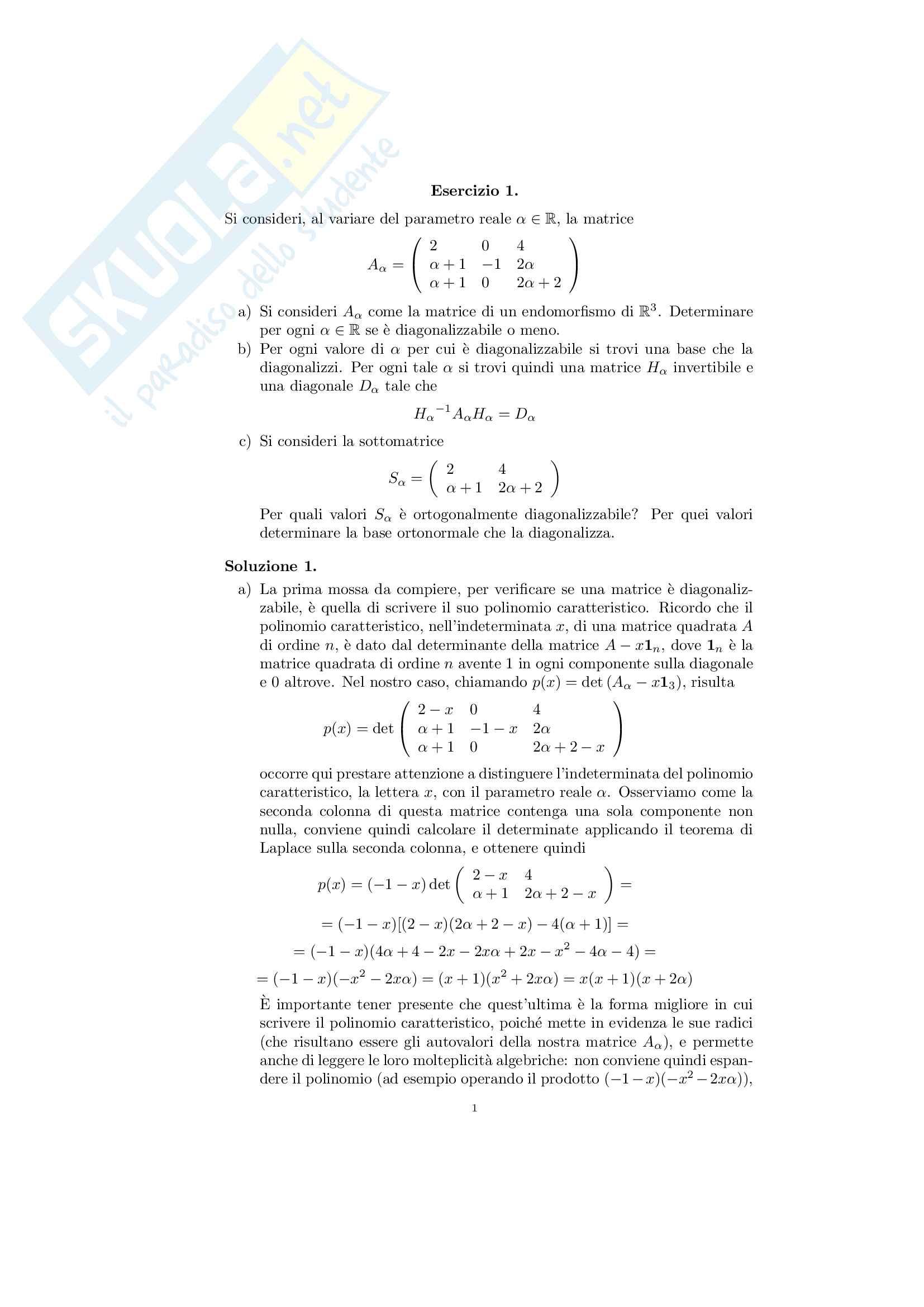 esercitazione B. Chiarellotto Algebra lineare e geometria