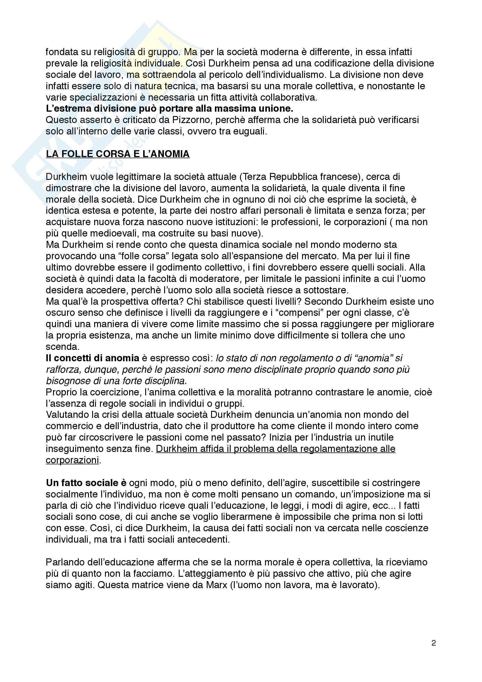 Riassunto esame Sociologia Generale, prof. Stauder, libro consigliato Il Suicidio di Durkheim Pag. 2