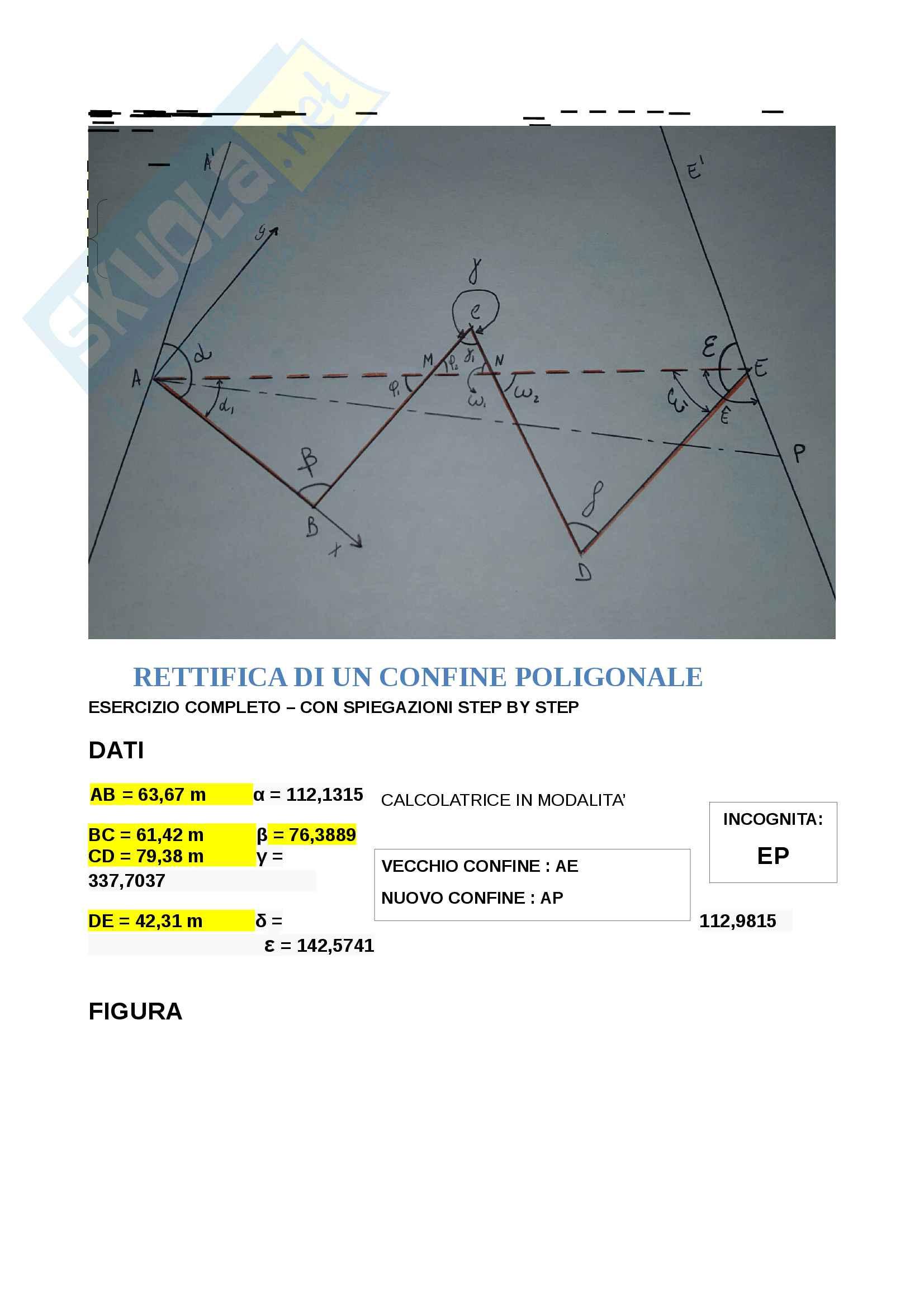 Rettifica di un confine poligonale - Esercizio completo con spiegazione Step by Step
