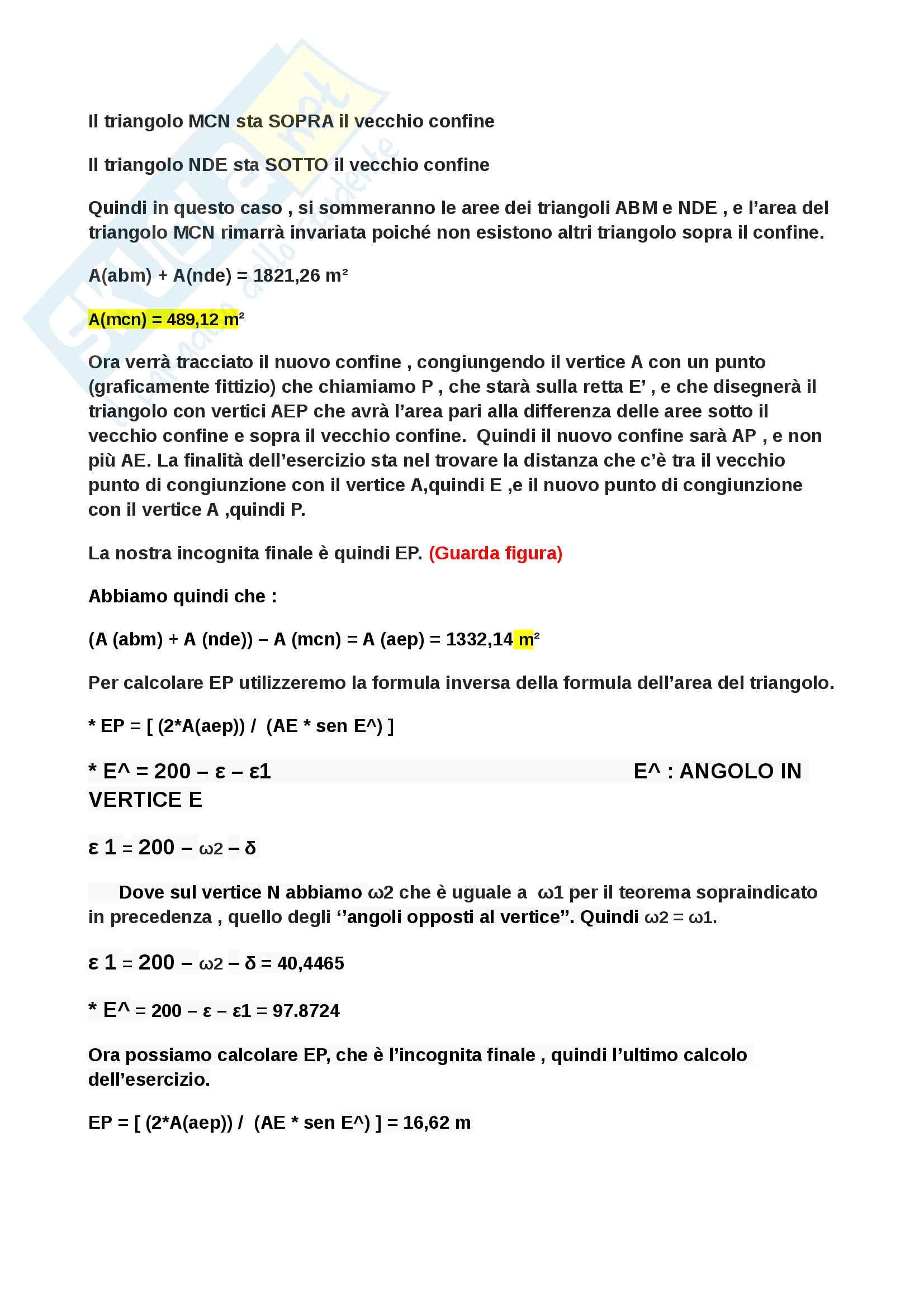 Rettifica di un confine poligonale - Esercizio completo con spiegazione Step by Step Pag. 6