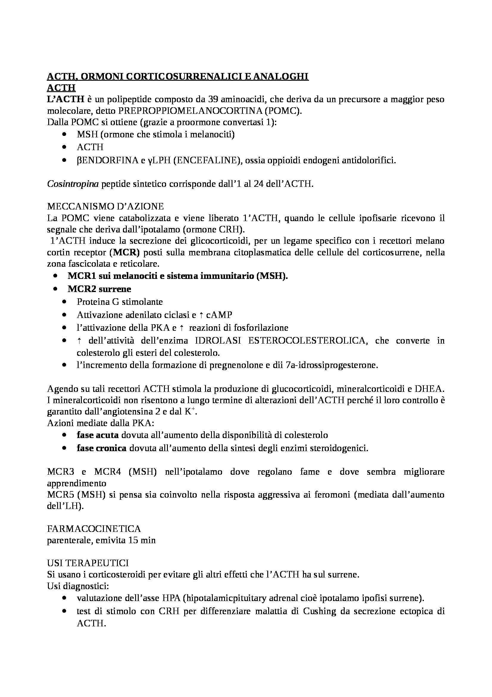 Farmacologia  e tossicologia - schema ACTH