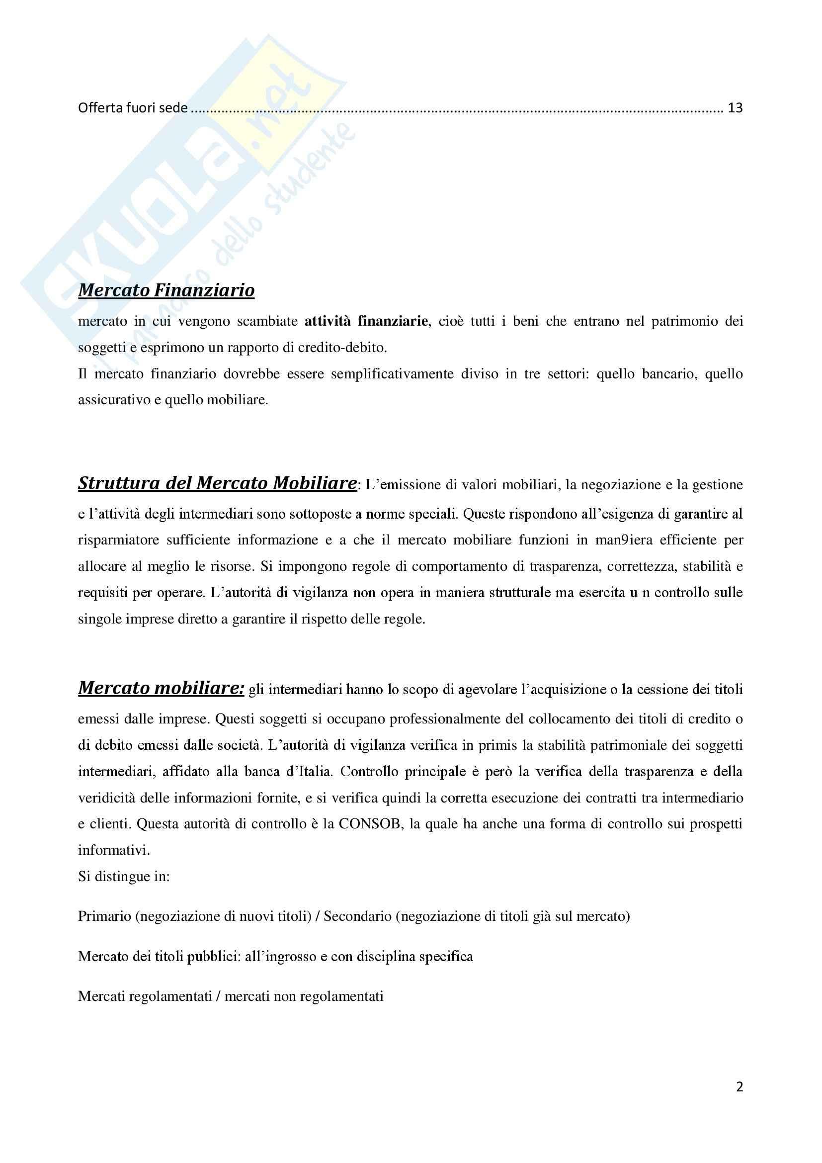 Diritto dei Mercati Finanziari - Riassunto esame Pag. 2