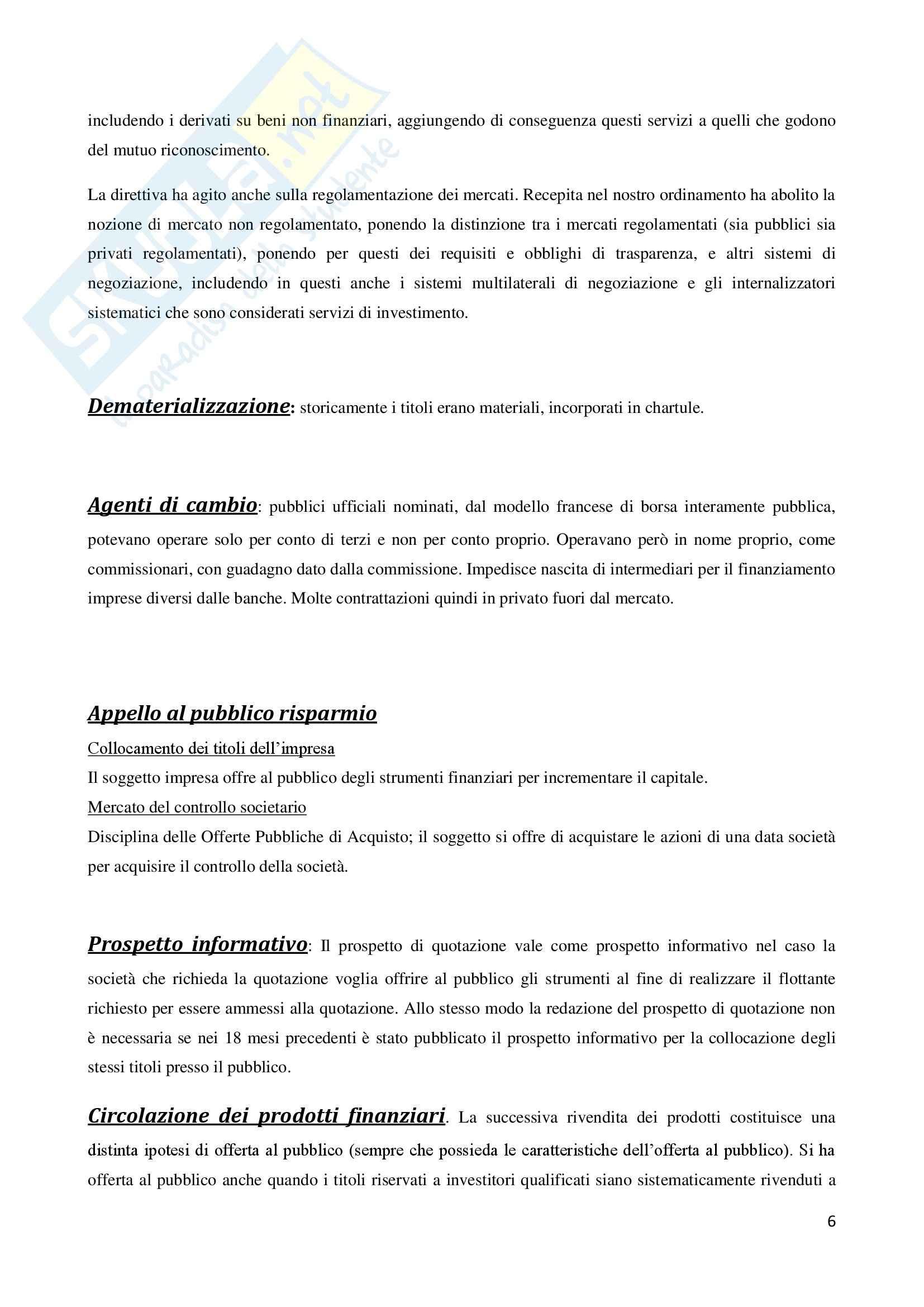 Diritto dei Mercati Finanziari - Riassunto esame Pag. 6