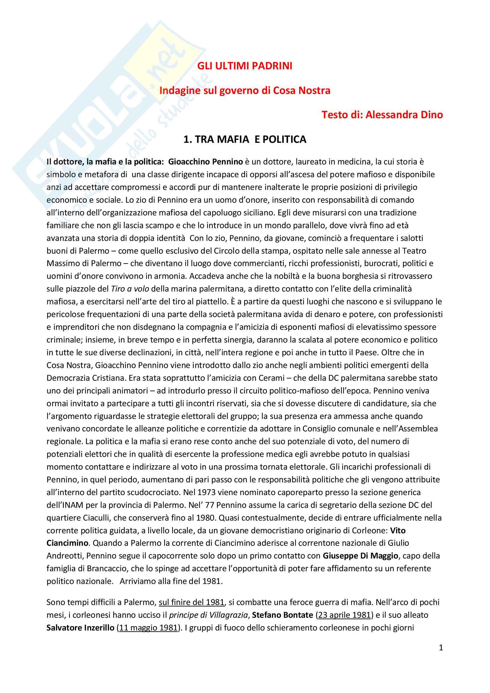 Riassunto Sociologia della devianza, prof. Dino, libro consigliato Gli ultimi padrini, Alessandra Dino