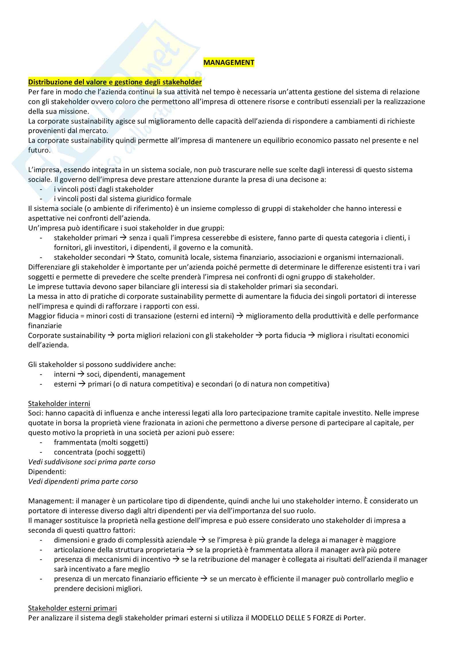 Management - Appunti completi