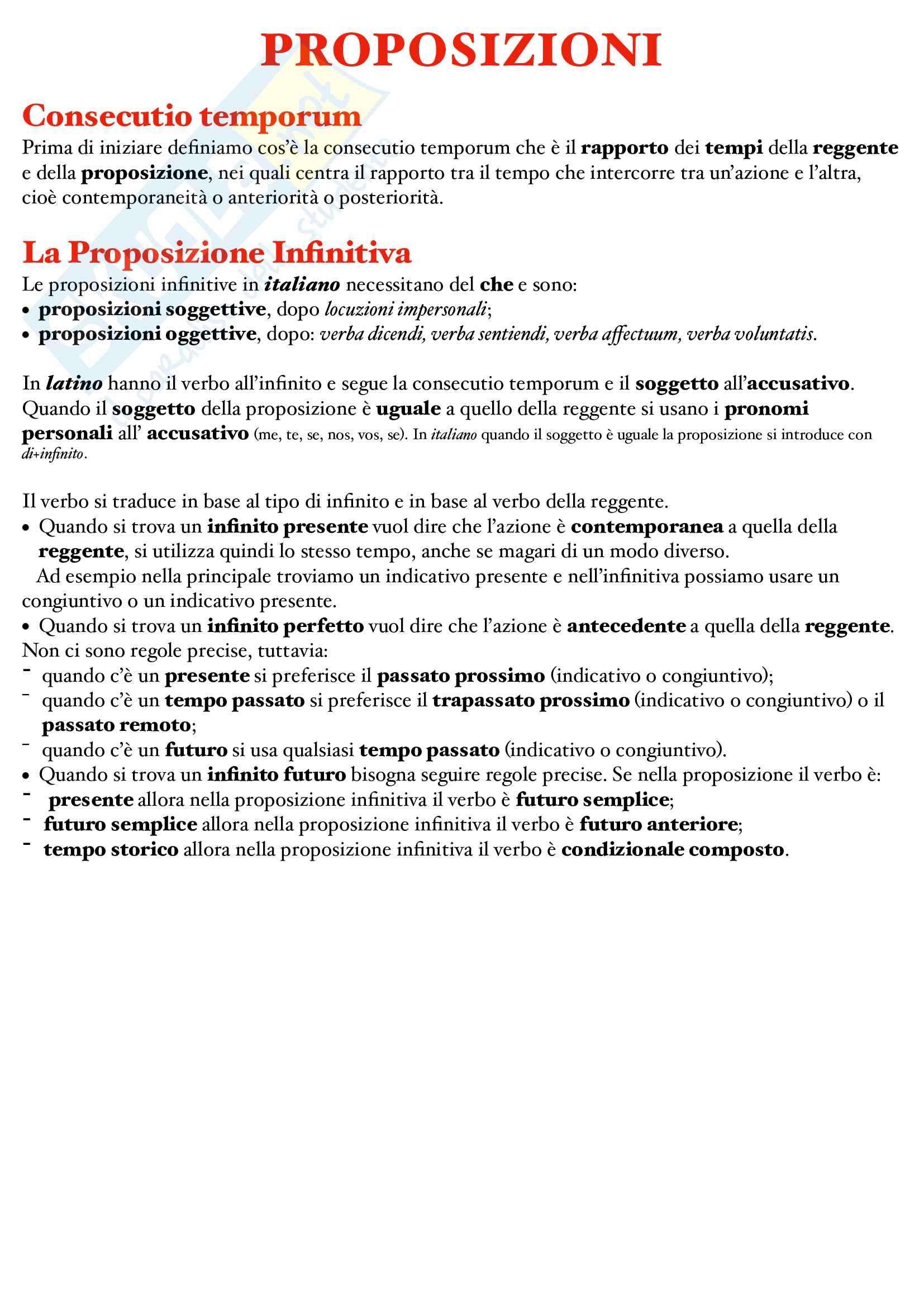 Regole sulle principali proposizioni latine