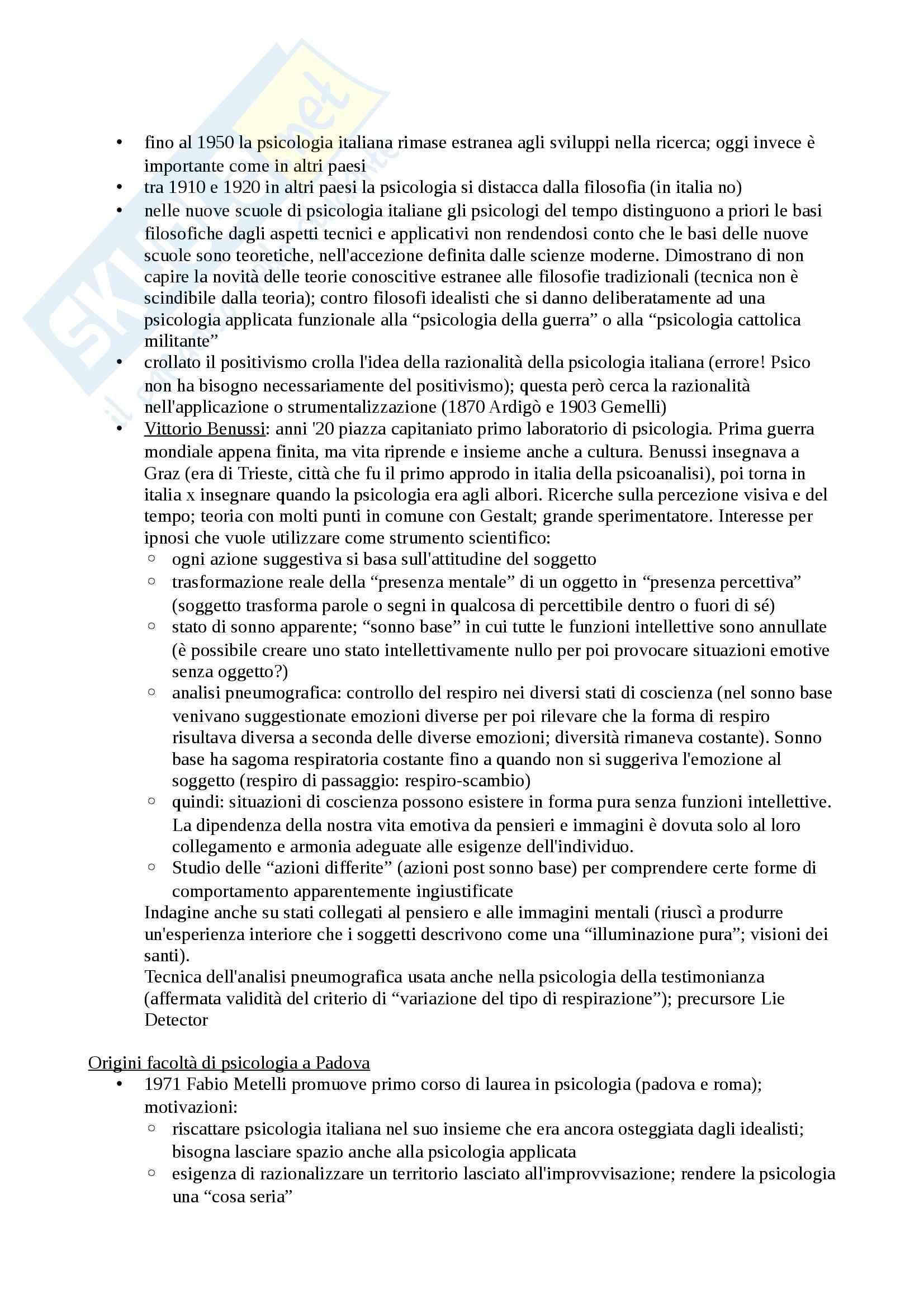 Riassunto esame Psicologia prof. Marhaba, libro consigliato Elementi di base per la storia e l'epistemologia della psicologia: la nascita e lo sviluppo della psicologia