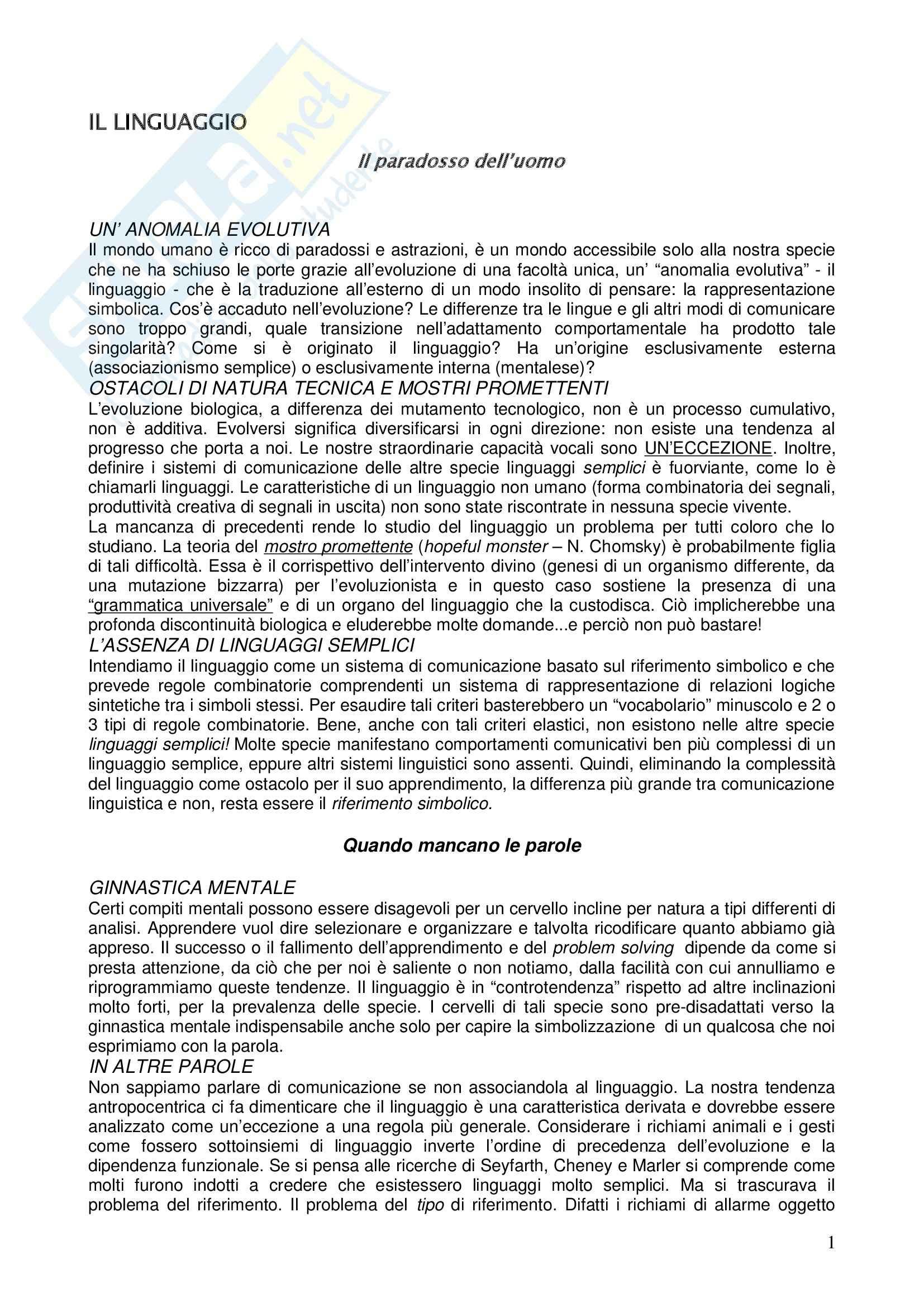 Riassunto esame Filosofia del Linguaggio, prof. Gensini, libro consigliato La Specie Simbolica, Deacon