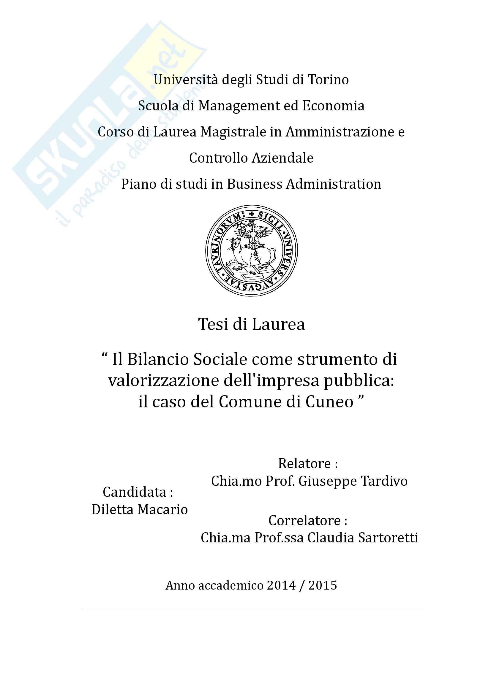 """Tesi magistrale: """"Il Bilancio Sociale come strumento di valorizzazione dell'impresa pubblica: il caso del Comune di Cuneo"""""""