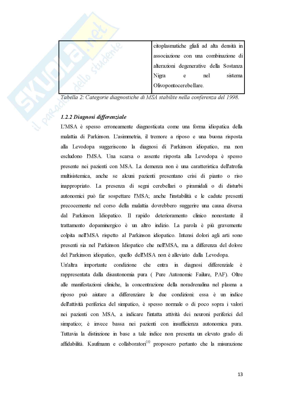 Tesi - Trattamento riabilitativo di un paziente con atrofia multisistemica: descrizione di un caso clinico Pag. 16