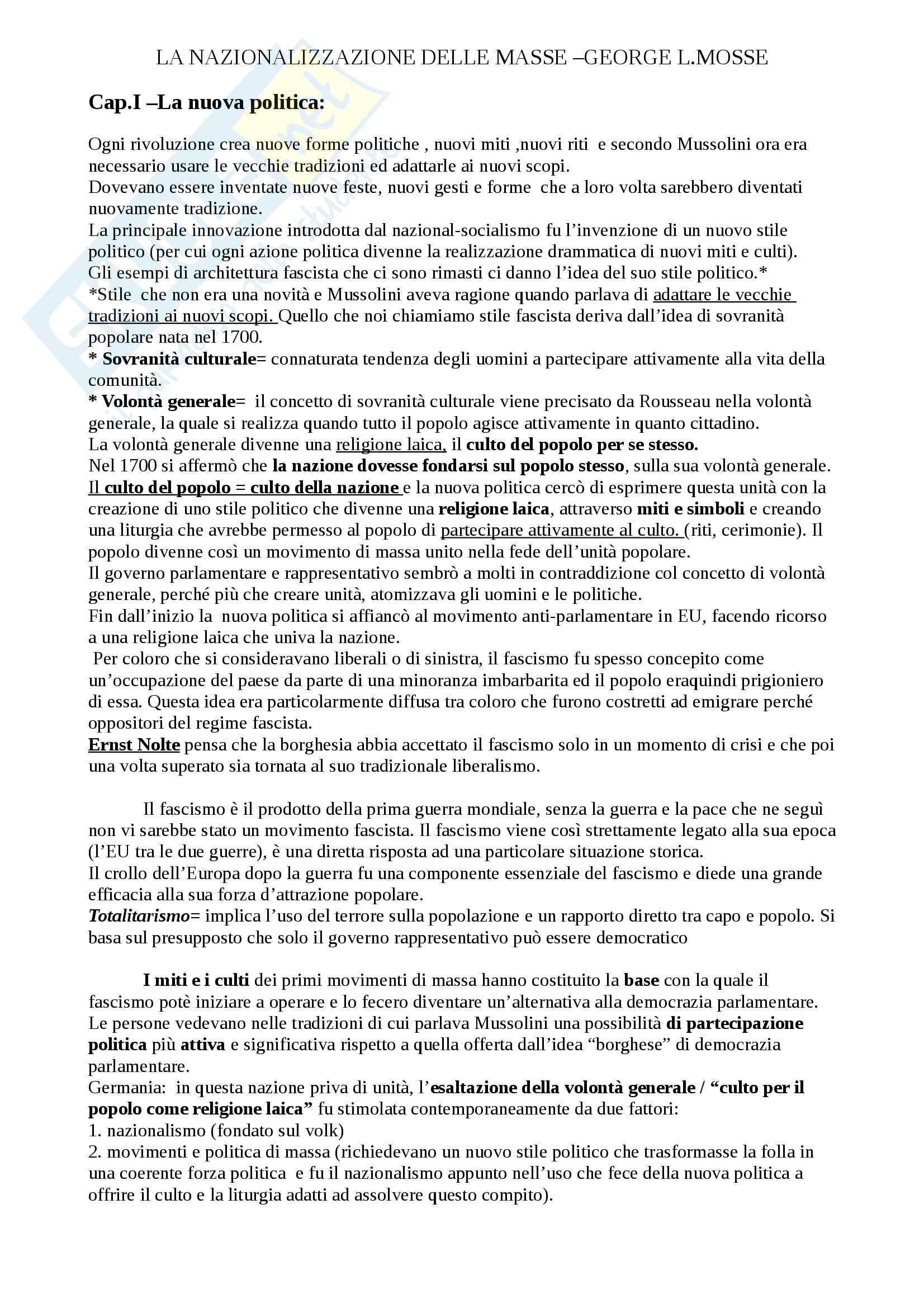 """Riassunto esame Storia contemporanea, prof. Soldani, libro consigliato """"La nazionalizzazione delle masse"""",  George L. Mosse"""