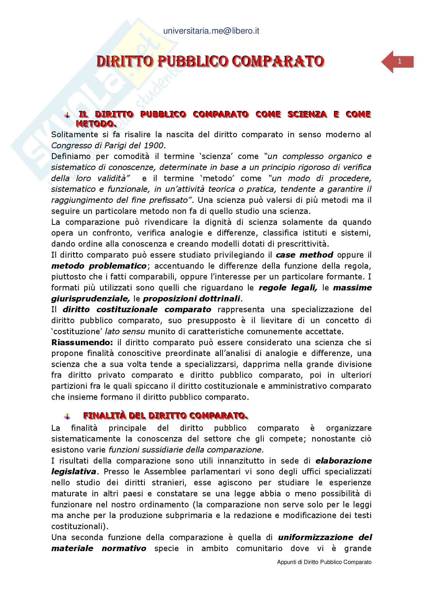 Riassunto esame Diritto Pubblico Comparato, prof. Spadaro, libro consigliato Manuale di Diritto Pubblico, Morbidelli, Pegoraro, Reposi, Volpi