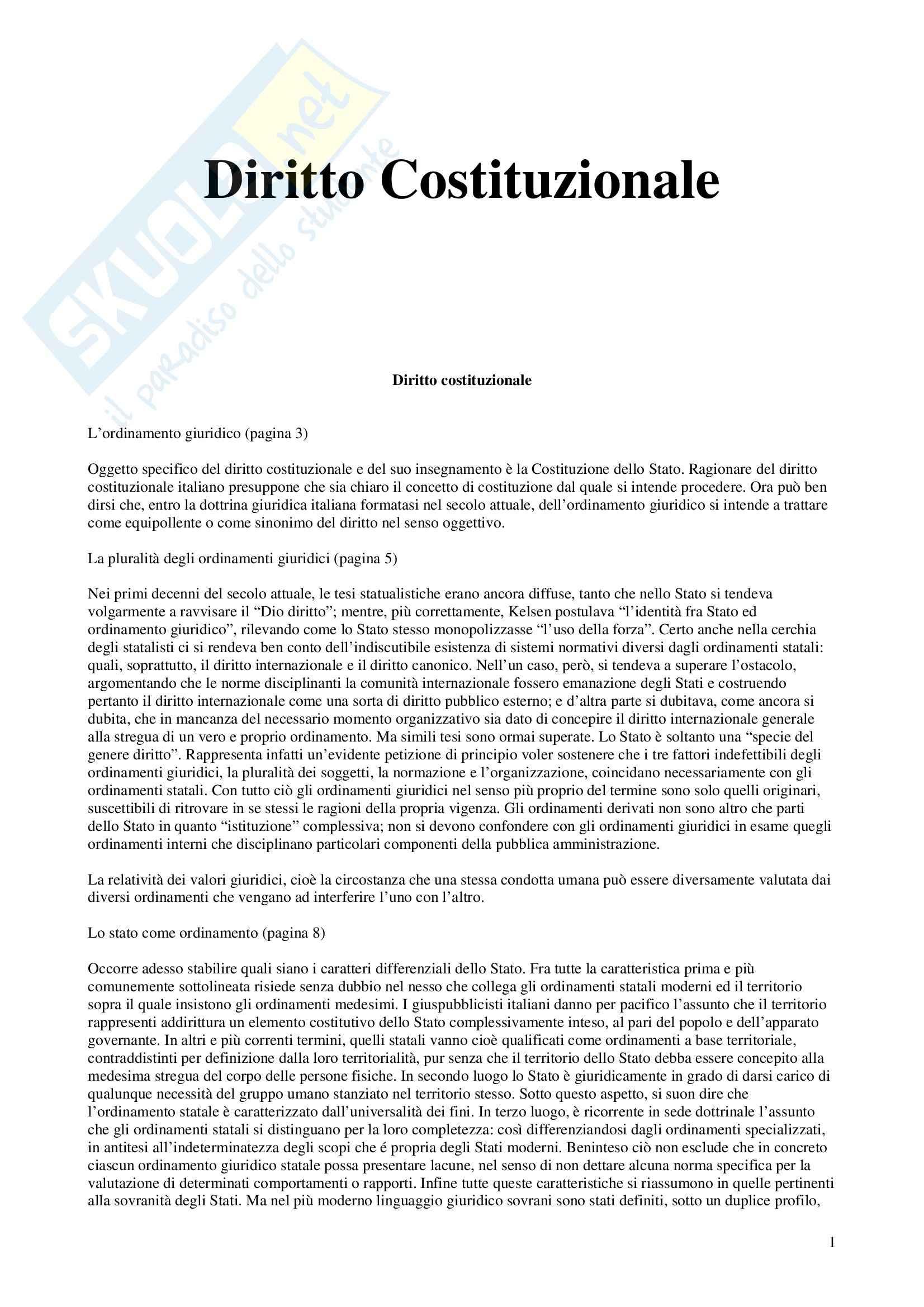 Riassunto esame Diritto Costituzionale, prof. Brunelli, libro consigliato Diritto Costituzionale, Paladin