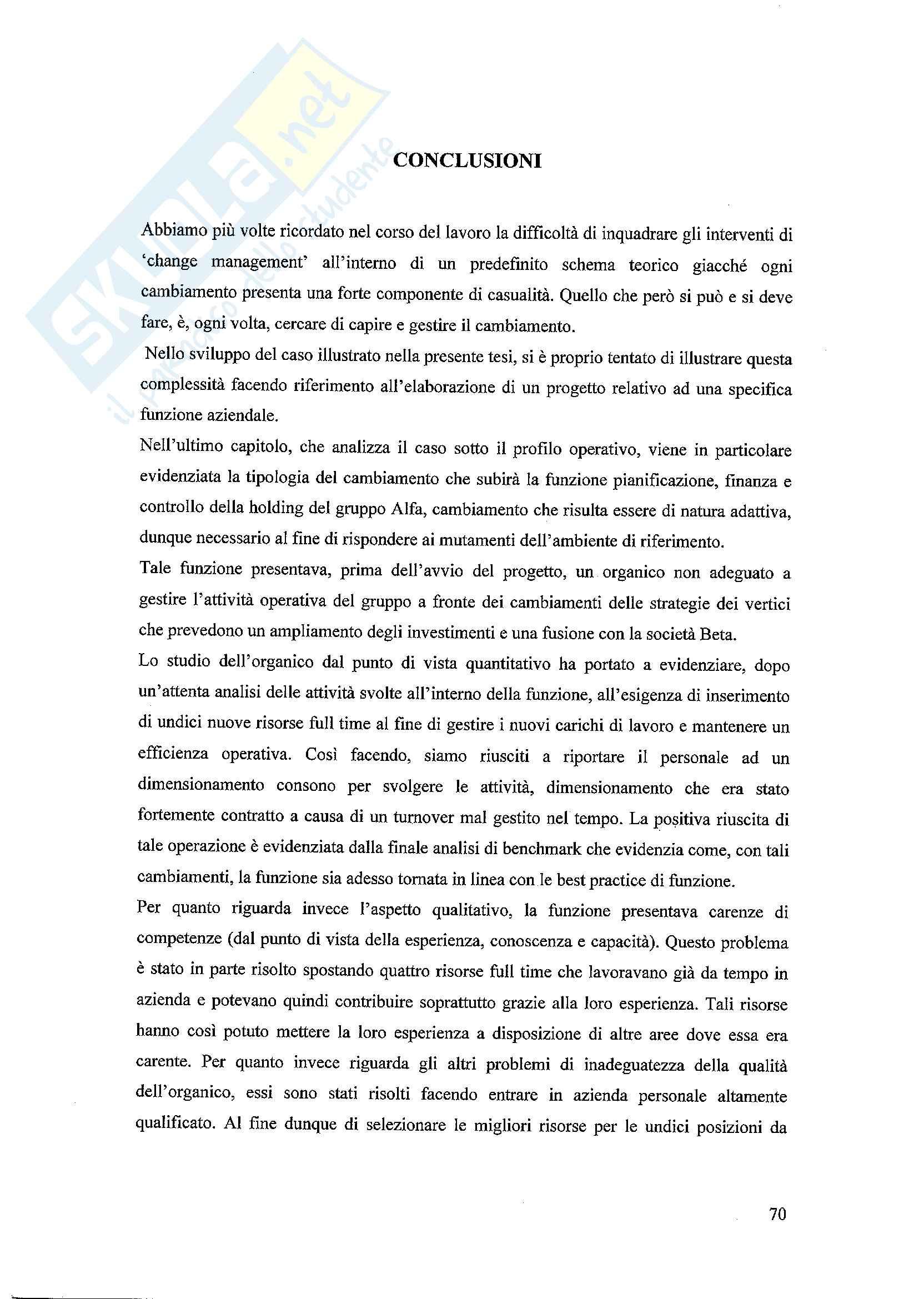 Tesi - Il cambiamento organizzativo e le risorse umane. il caso di una società di gestione aeroportuale Pag. 71