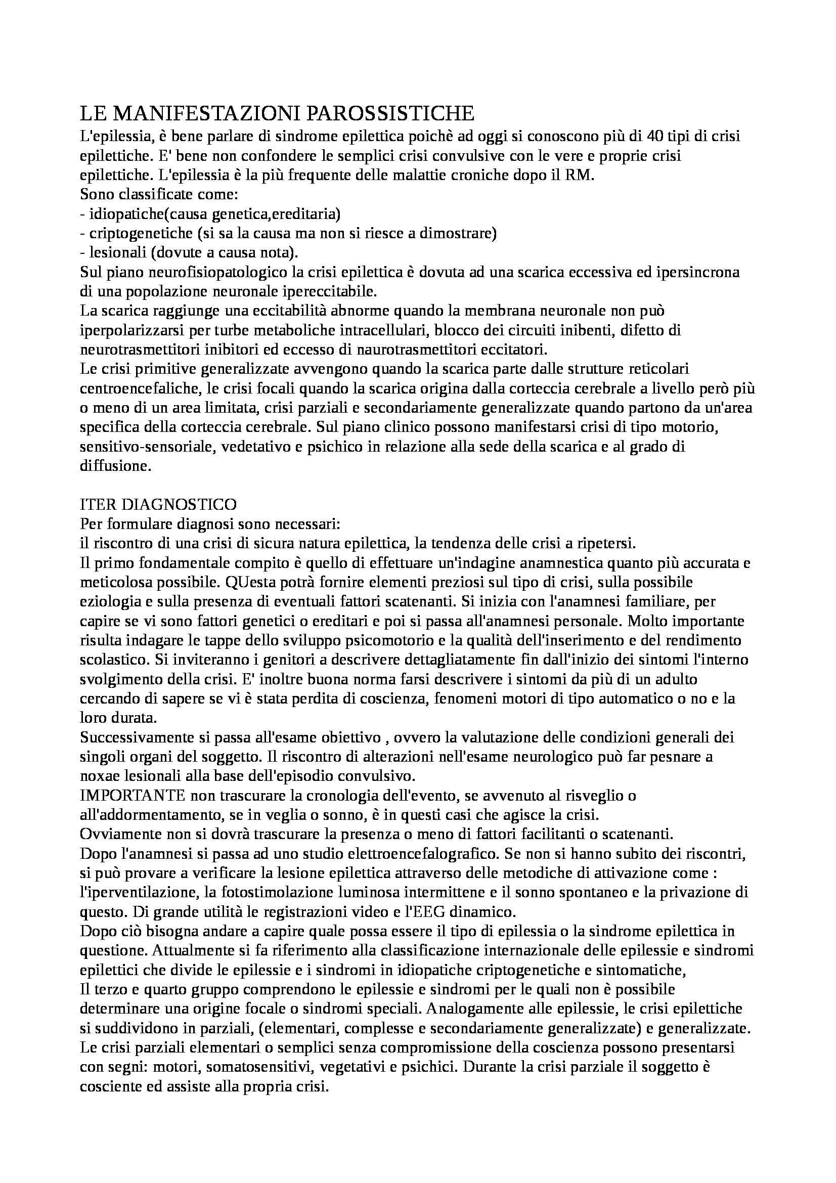Neuropsichiatria infanitle - manifestazione parossistiche