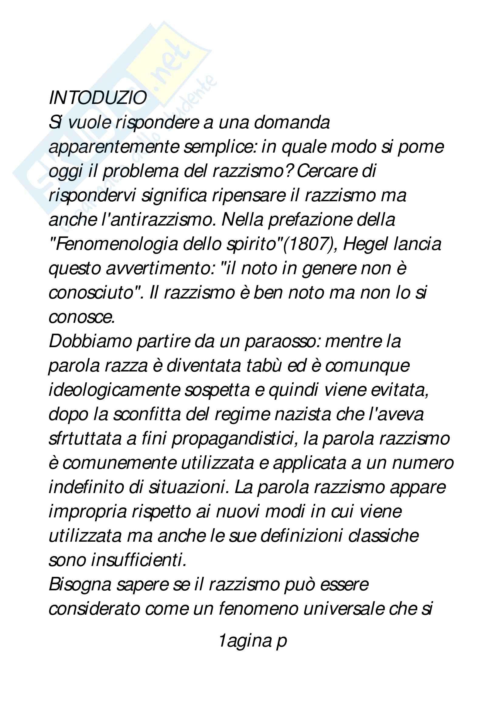 Riassunto esame Processi comunicativi e razzismo, prof. Padovan, libro consigliato Il razzismo, Taguieff