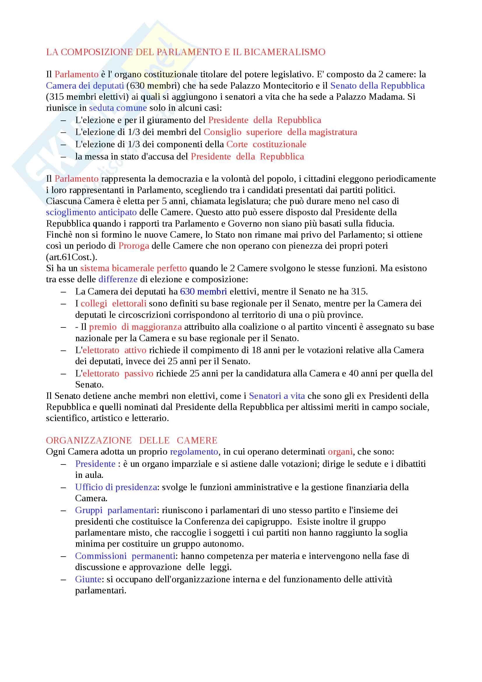 Diritto - La composizione del Parlamento e il Bicameralismo