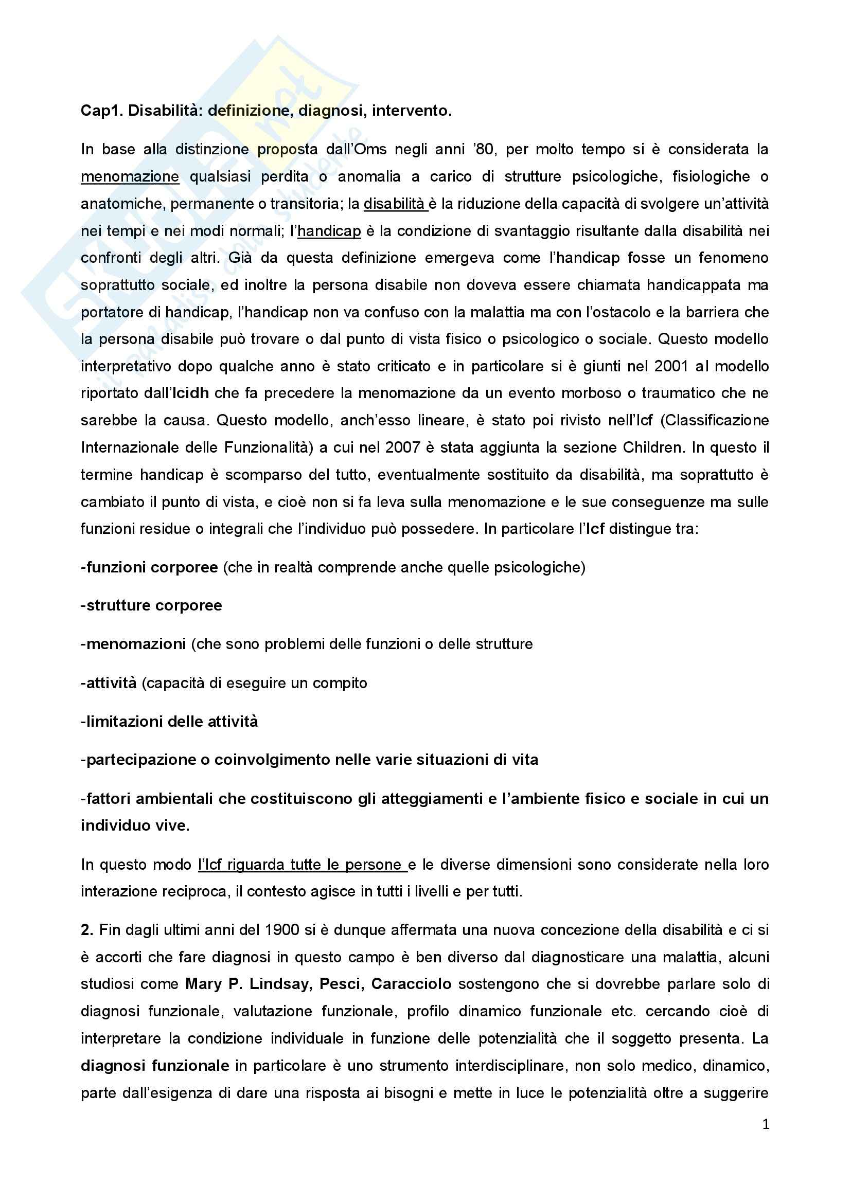 Riassunto esame Psicologia della Disabilitànello Sviluppo, prof. Bigozzi, libro consigliato Zanobini, Usai