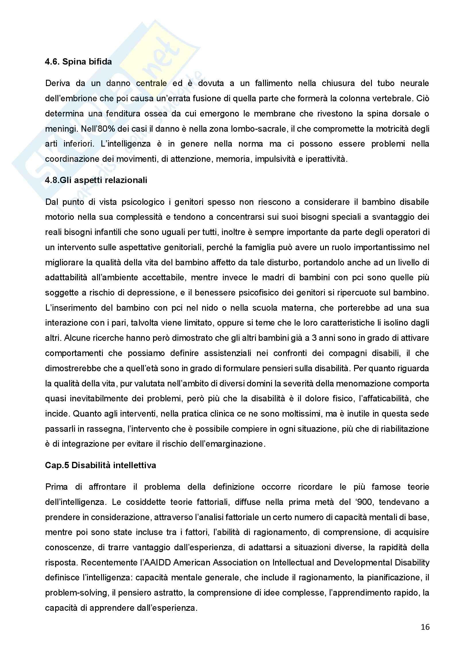 Riassunto esame Psicologia della Disabilitànello Sviluppo, prof. Bigozzi, libro consigliato Zanobini, Usai Pag. 16