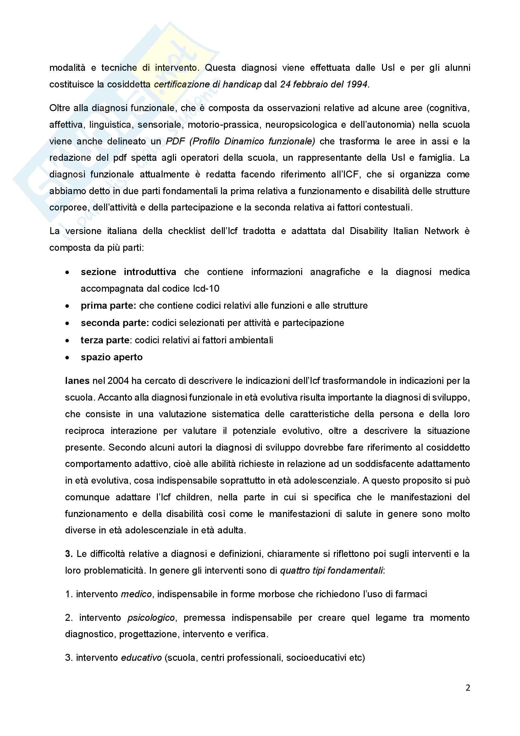 Riassunto esame Psicologia della Disabilitànello Sviluppo, prof. Bigozzi, libro consigliato Zanobini, Usai Pag. 2