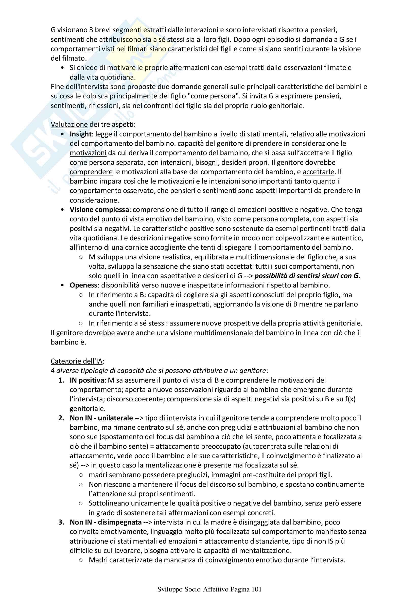 Psicologia Sviluppo Socio Affettivo Pag. 101