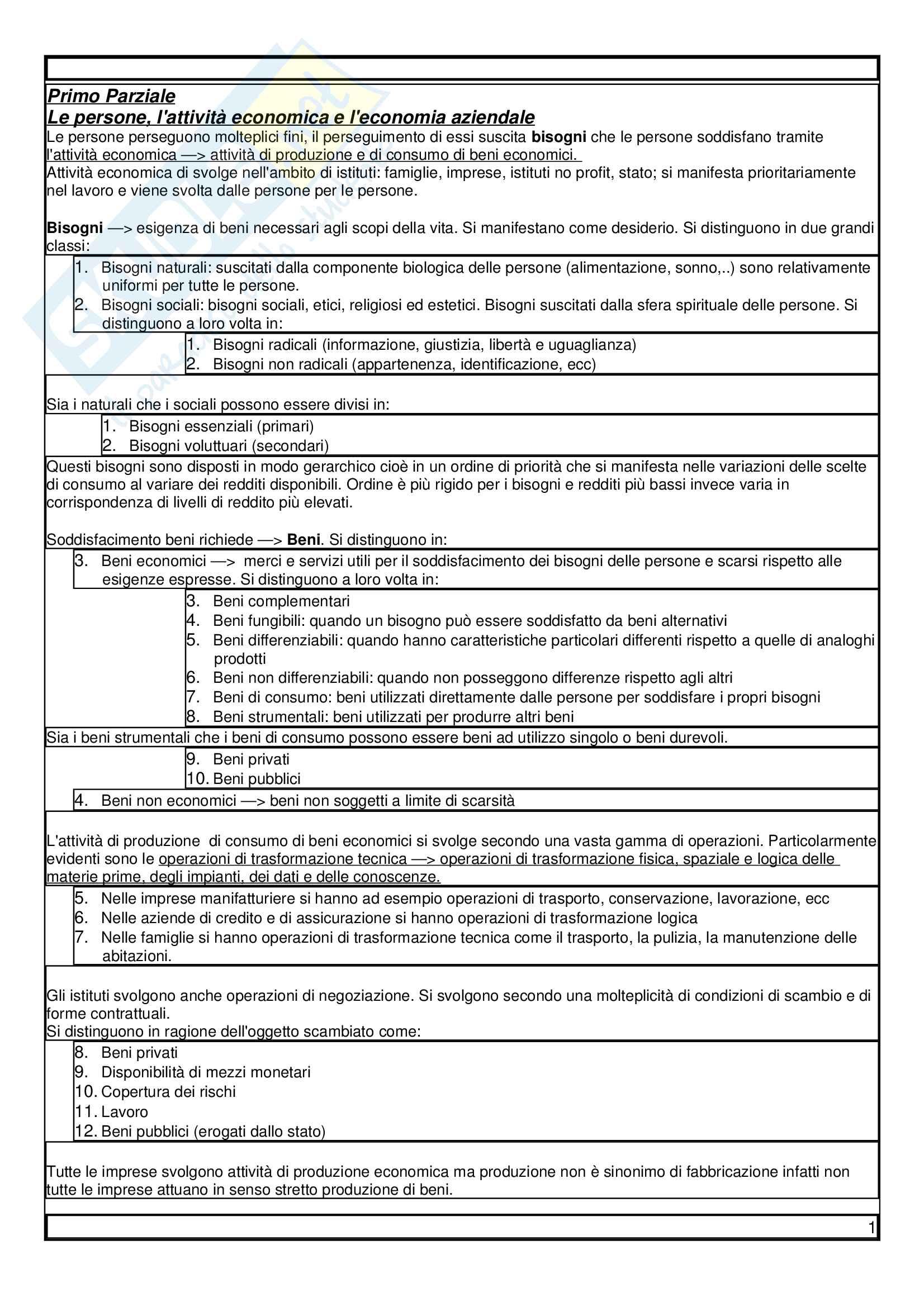 Appunti Economia Aziendale, Libro consigliato Airoldi, Brunetti, Coda