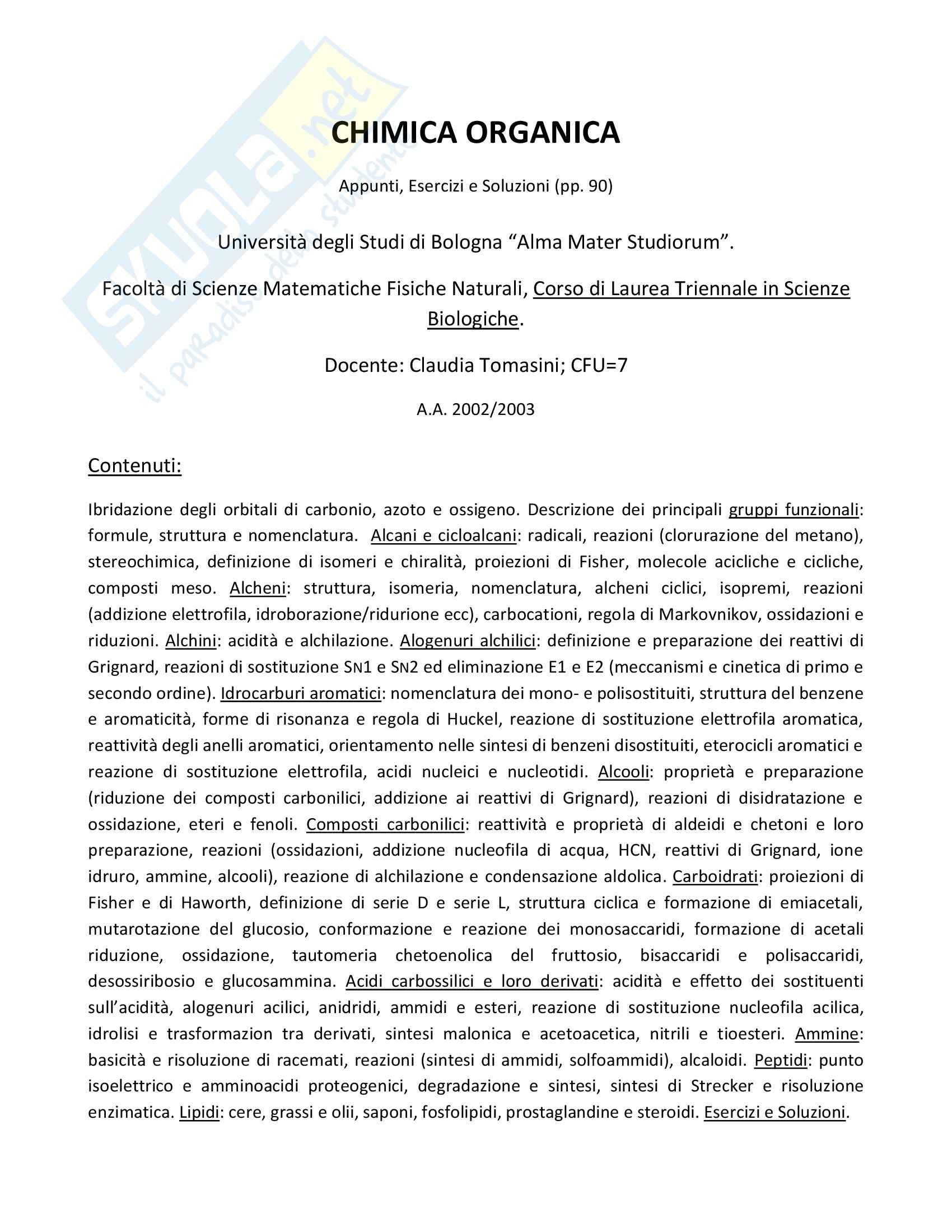 appunto C. Tomasini Chimica organica