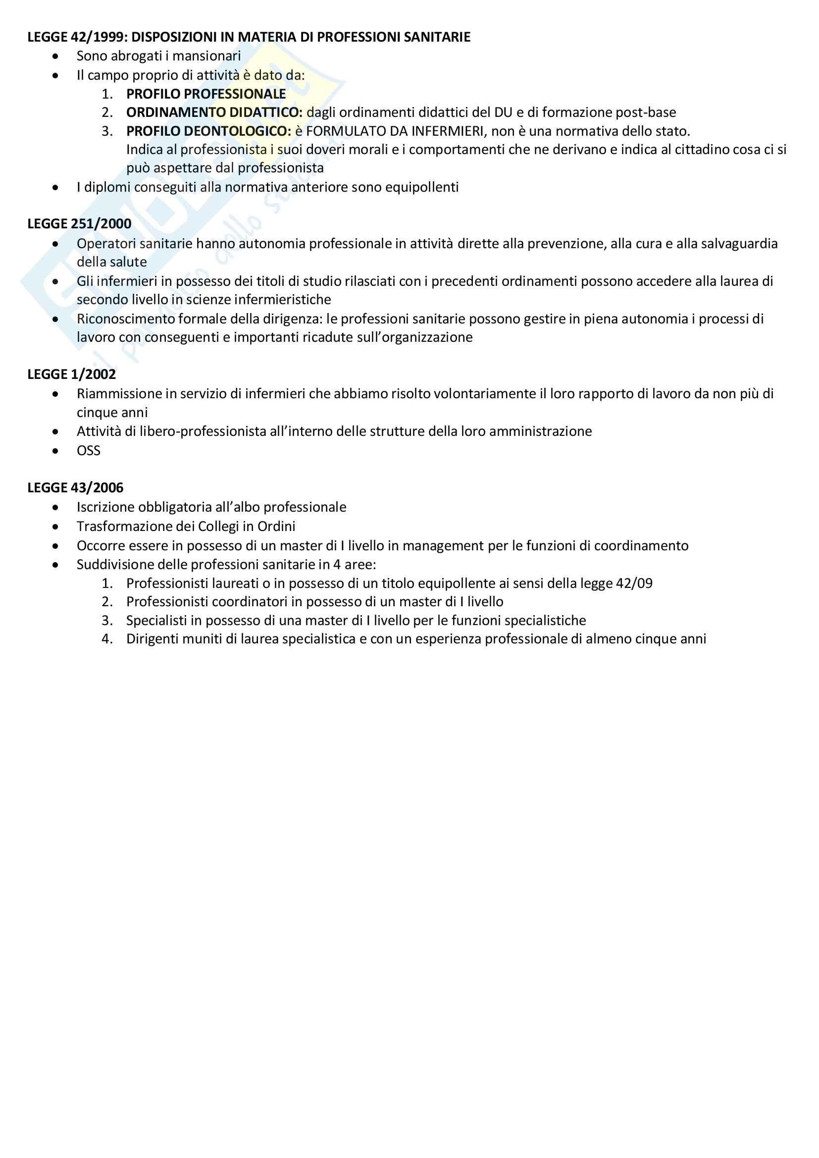 Riassunto esame Fondamenti di Scienze infermieristiche e ostetriche, prof. Citterio Pag. 21