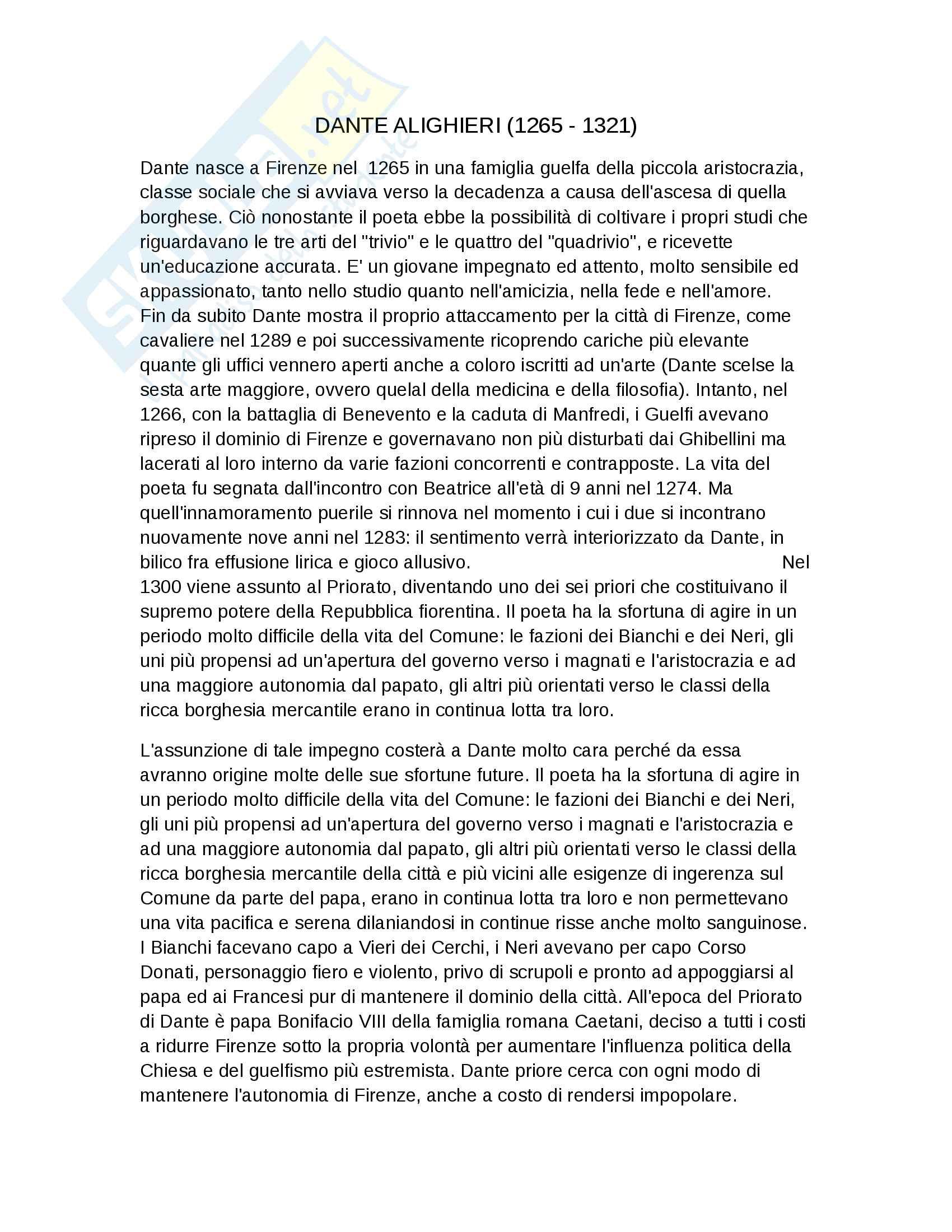 Riassunto esame letteratura italiana, prof Cavalli, libro consigliato Storia della Letteratura Italiana, U. Dotti