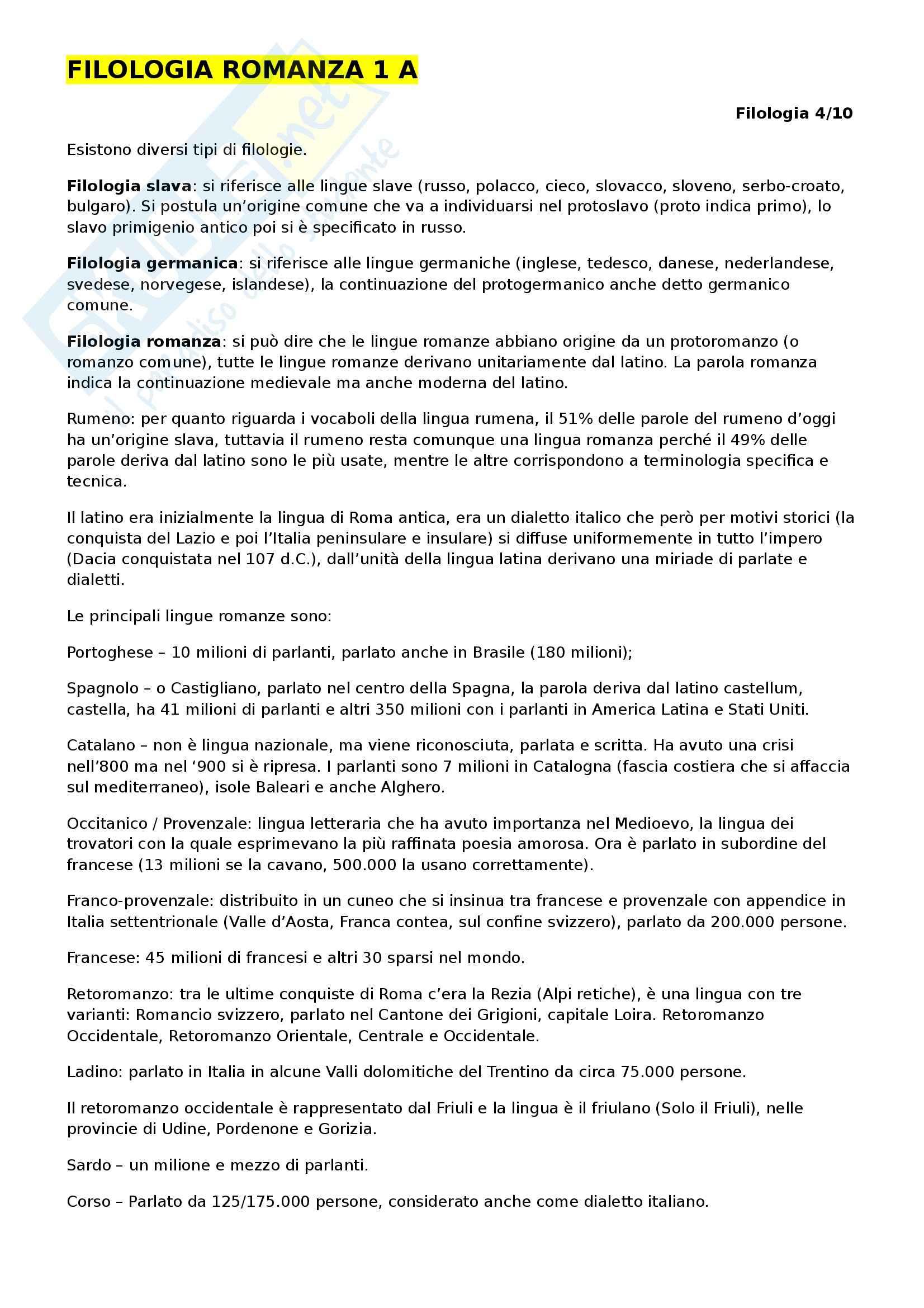 Filologia Romanza - Appunti