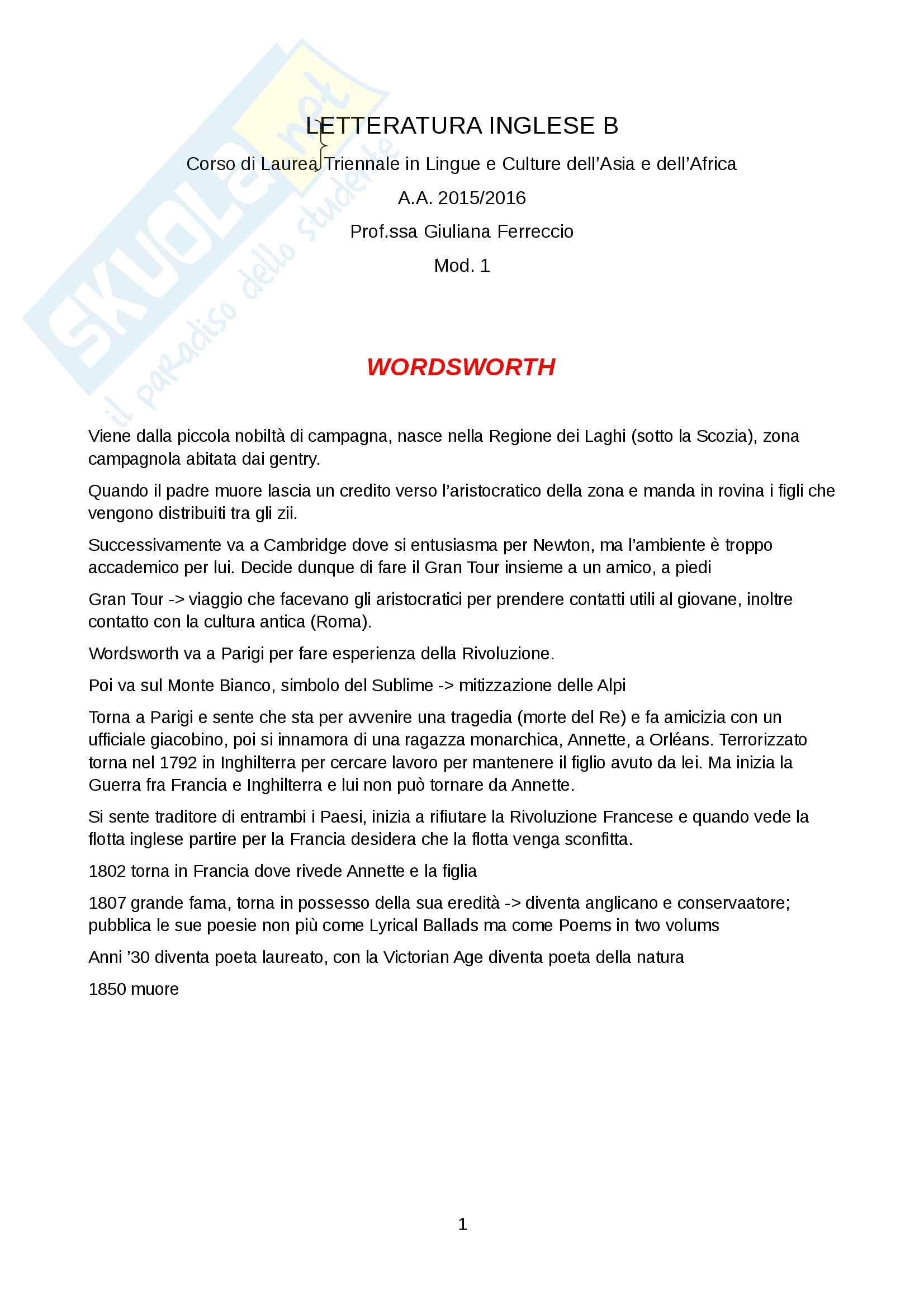 Letteratura Inglese B - Modulo 1