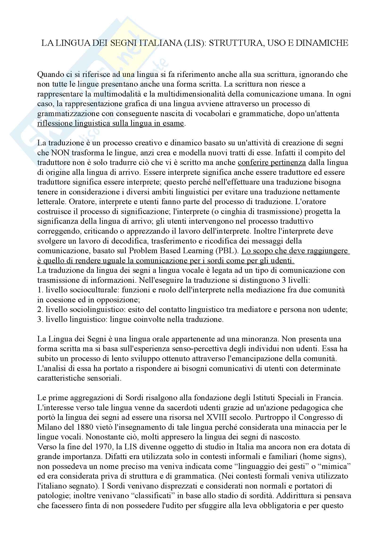 Lingua dei Segni Italiana LIS - sviluppo e struttura