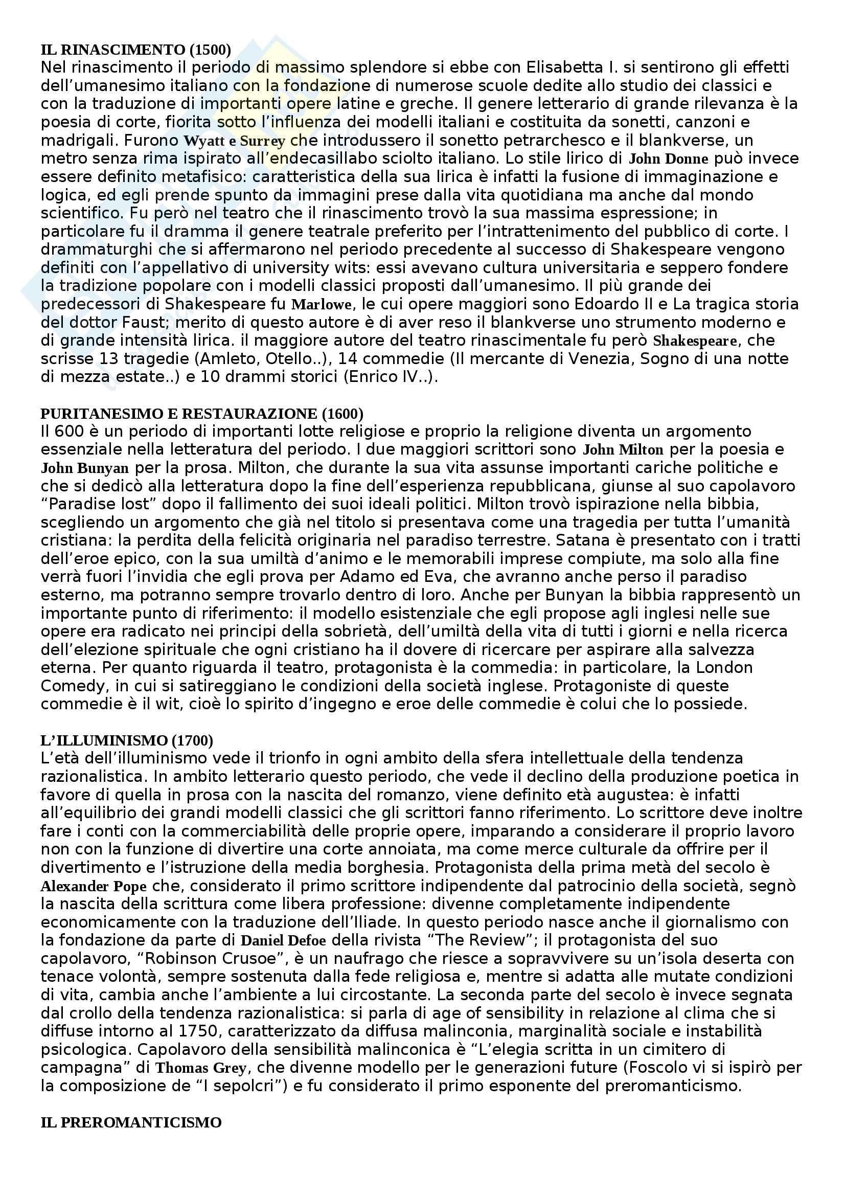 Riassunto esame Letteratura inglese, prof. Martino