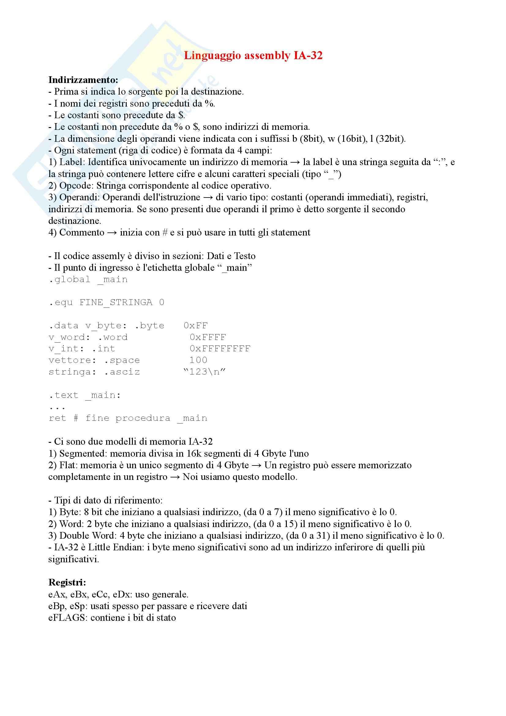 Architettura Elaboratori - Linguaggio Assembly IA-32 (anche esercizi)