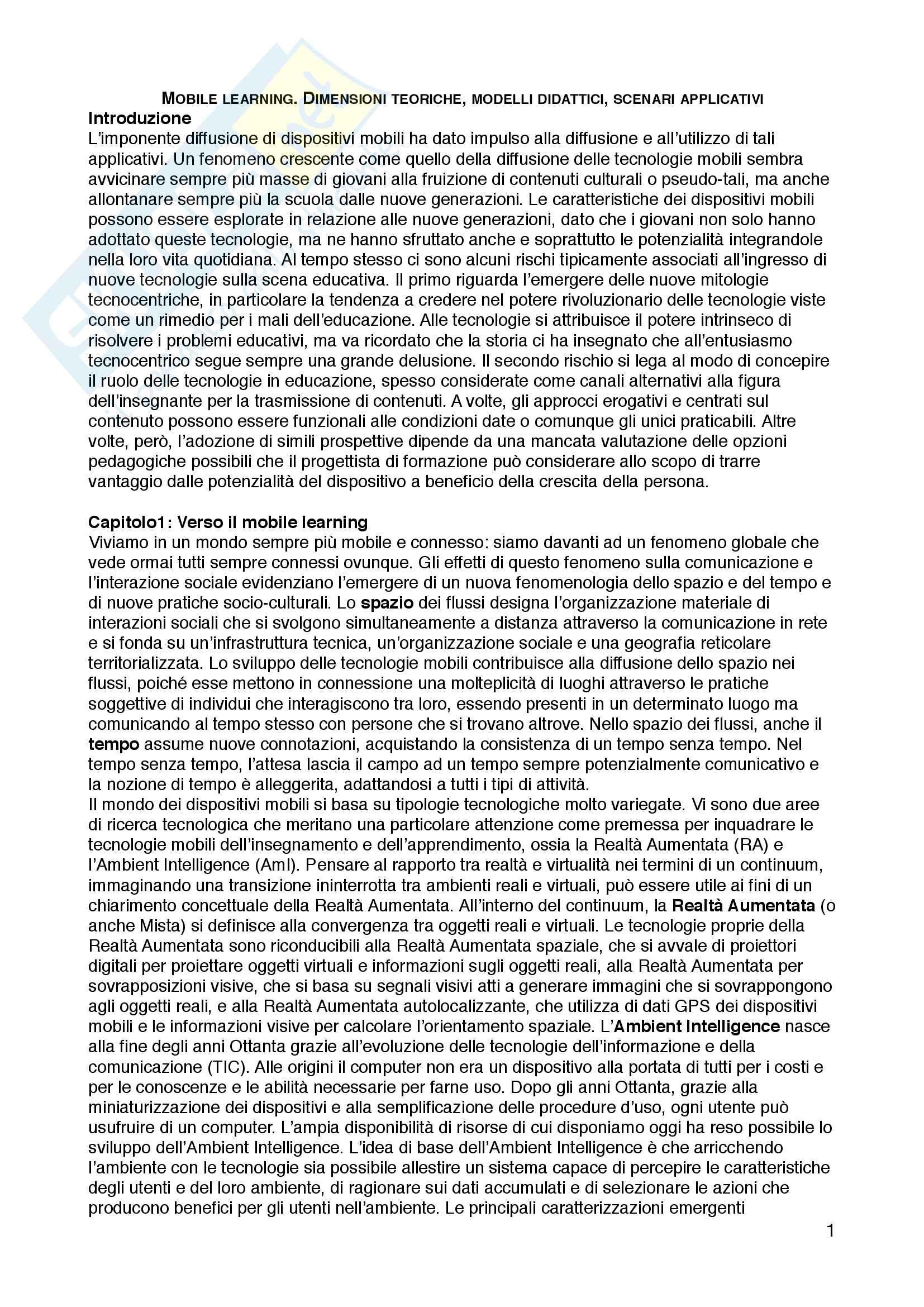 """Riassunto esame Tecnologie dell'istruzione e dell'apprendimento, prof.ssa Maria Ranieri, libro consigliato """"Mobile learning. Dimensioni teoriche, modelli didattici, scenari applicativi"""", Maria Ranieri, Michelle Pieri"""