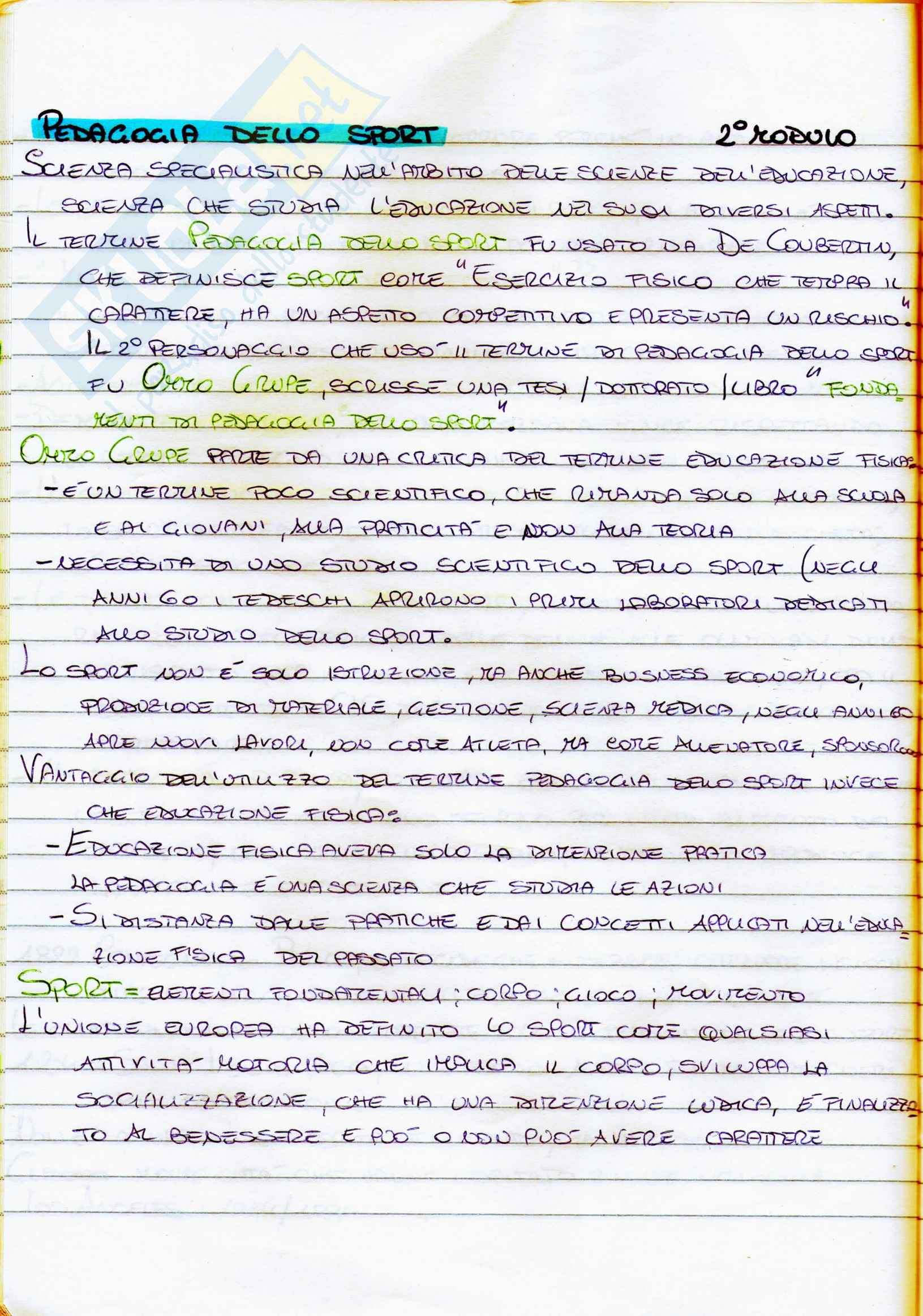 Riassunto esame Pedagogia dello sport, prof. Isidori, libro consigliato La pedagogia dello sport