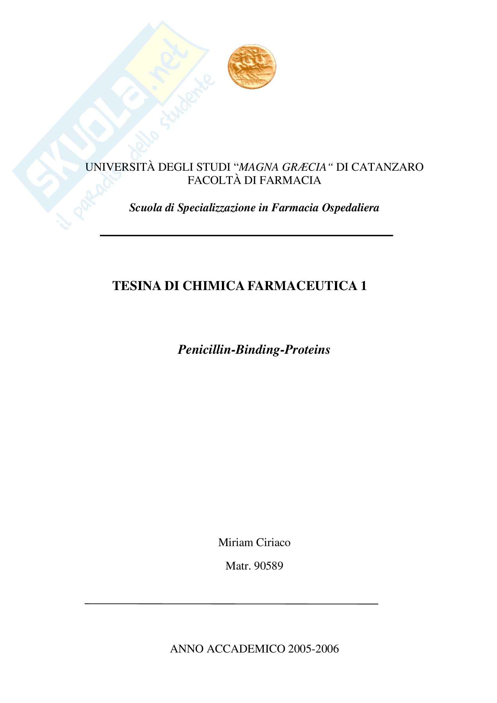Chimica farmaceutica - penicilline