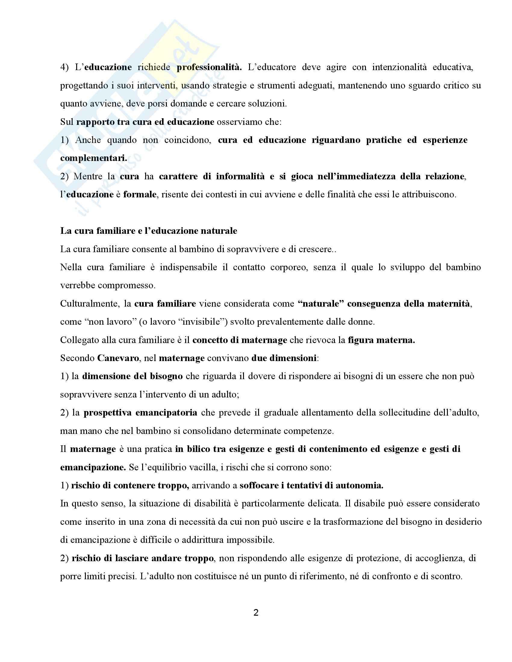 Riassunto esame Ppedagogia dell'inclusione, prof. Palmieri, libri consigliati Non di sola relazione - Un'esperienza di cui aver cura Pag. 2