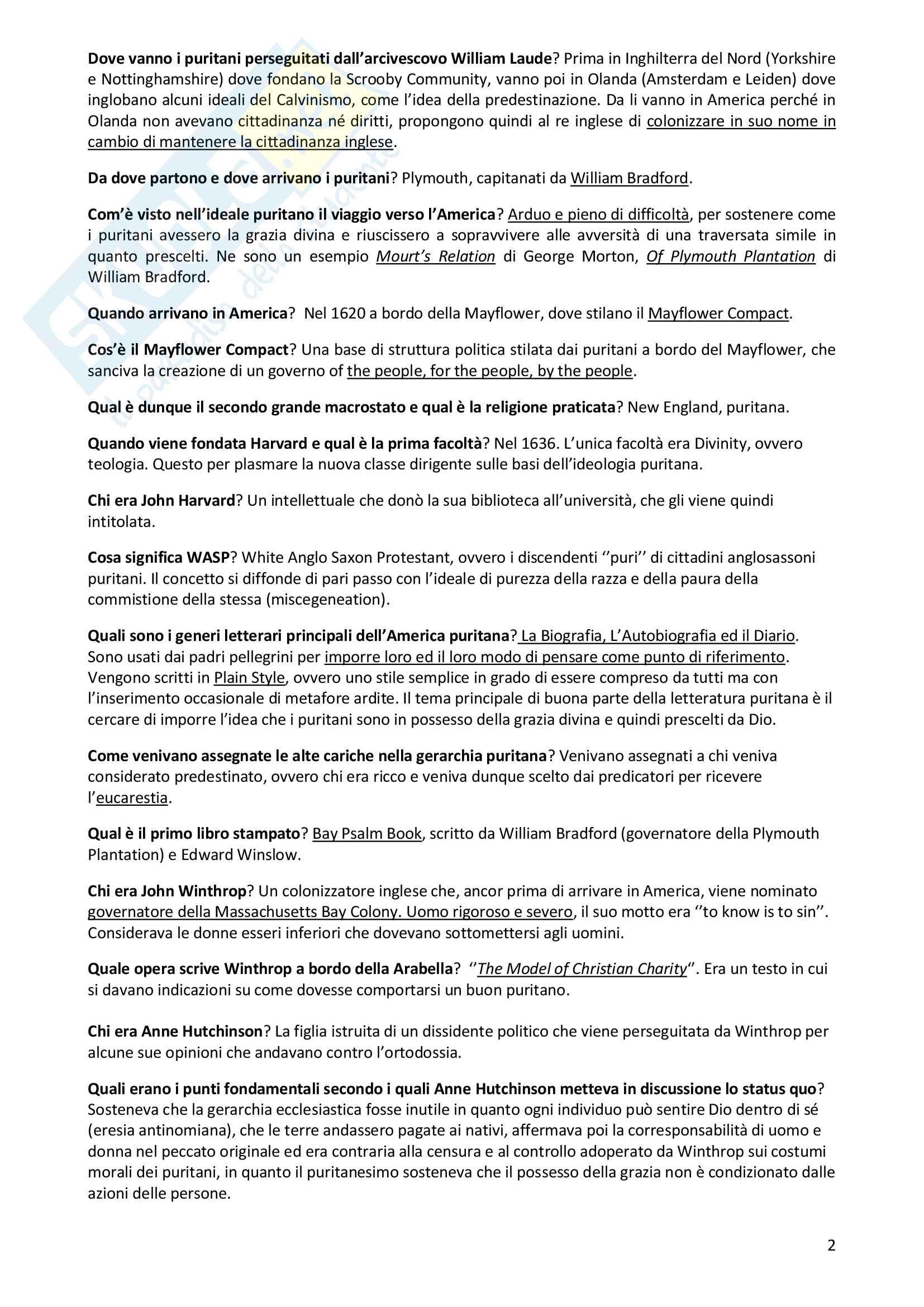 Letteratura Angloamericana 1 - domande frequenti e risposte Pag. 2