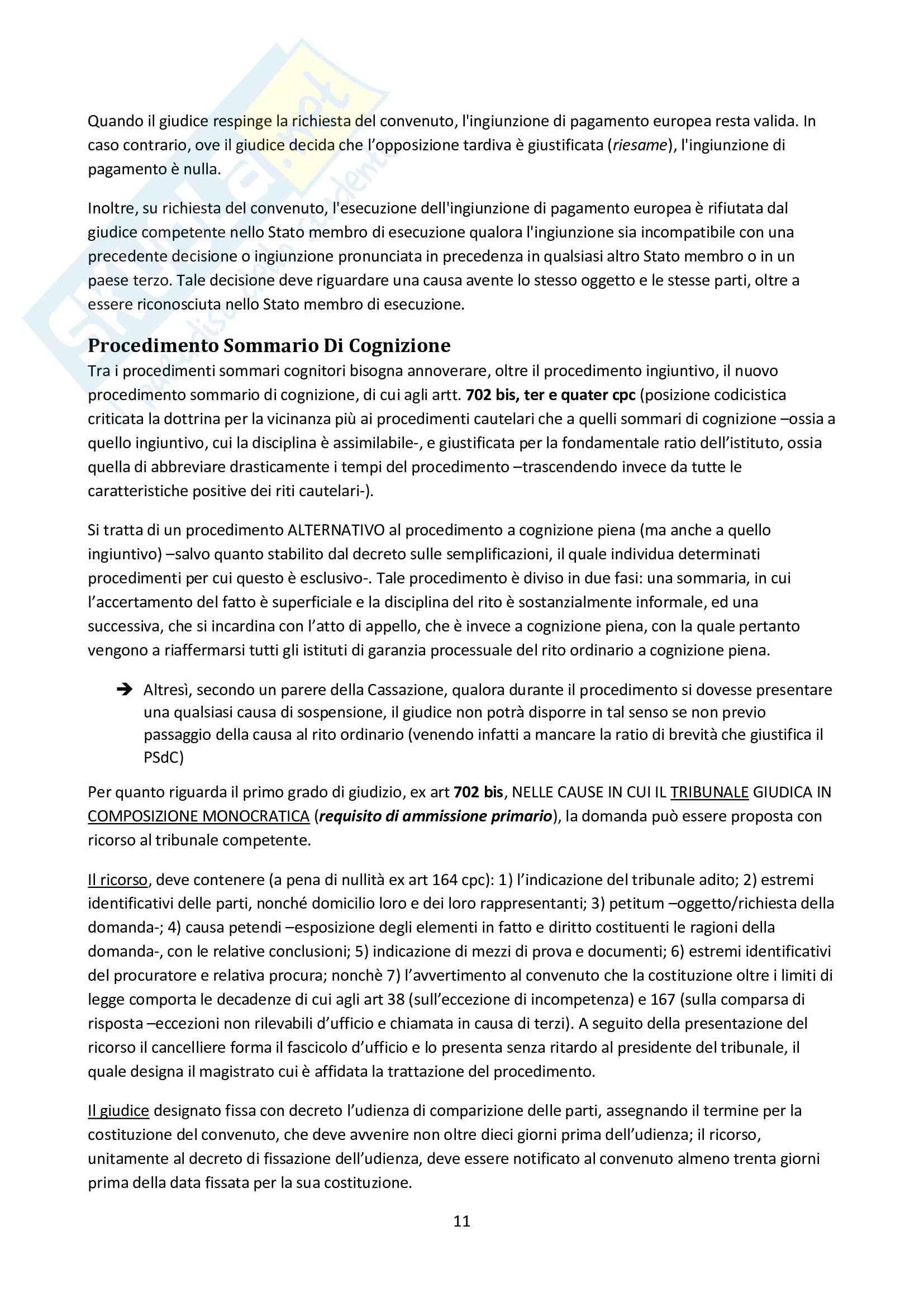 Riassunto esame Diritto Processuale Civile II, prof. Carratta, libro consigliato Procedura civile II, Mandrioli Pag. 11