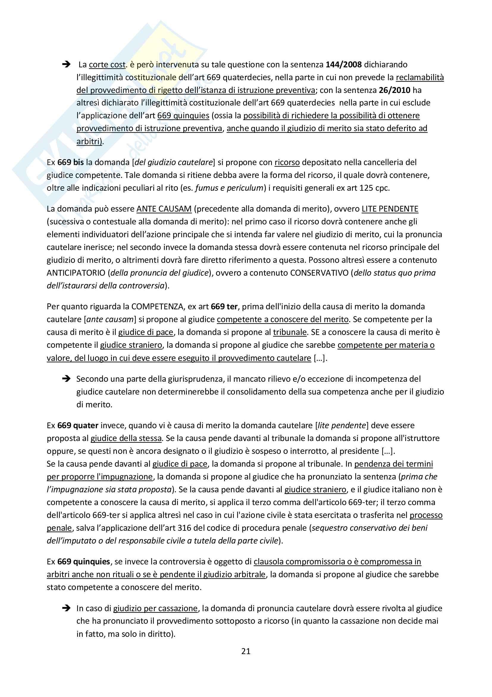 Riassunto esame Diritto Processuale Civile II, prof. Carratta, libro consigliato Procedura civile II, Mandrioli Pag. 21