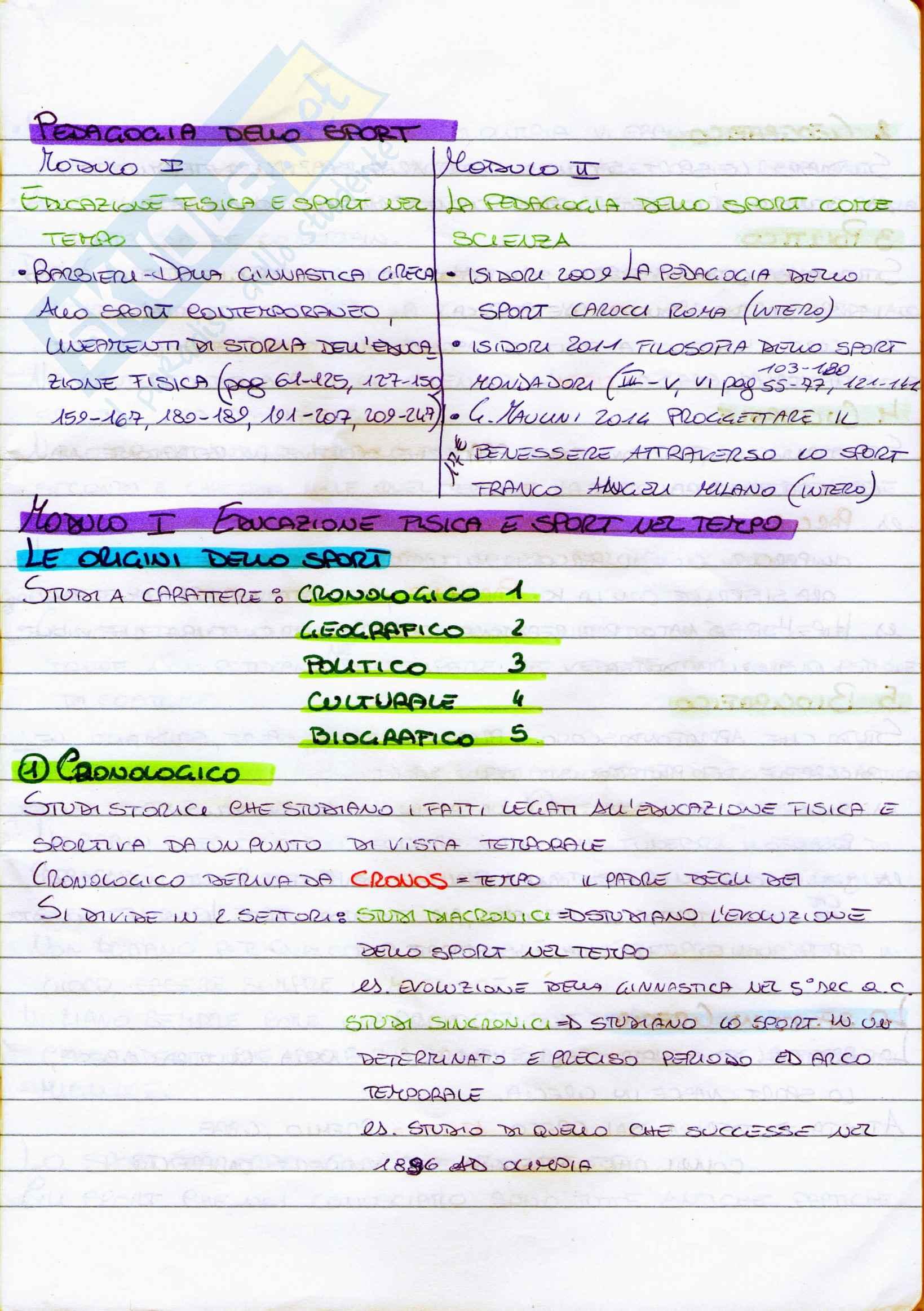 Riassunto esame Pedagogia dello sport, prof. Isidori, libro consigliato Dalla ginnastica greca allo sport contemporaneo di Barbieri